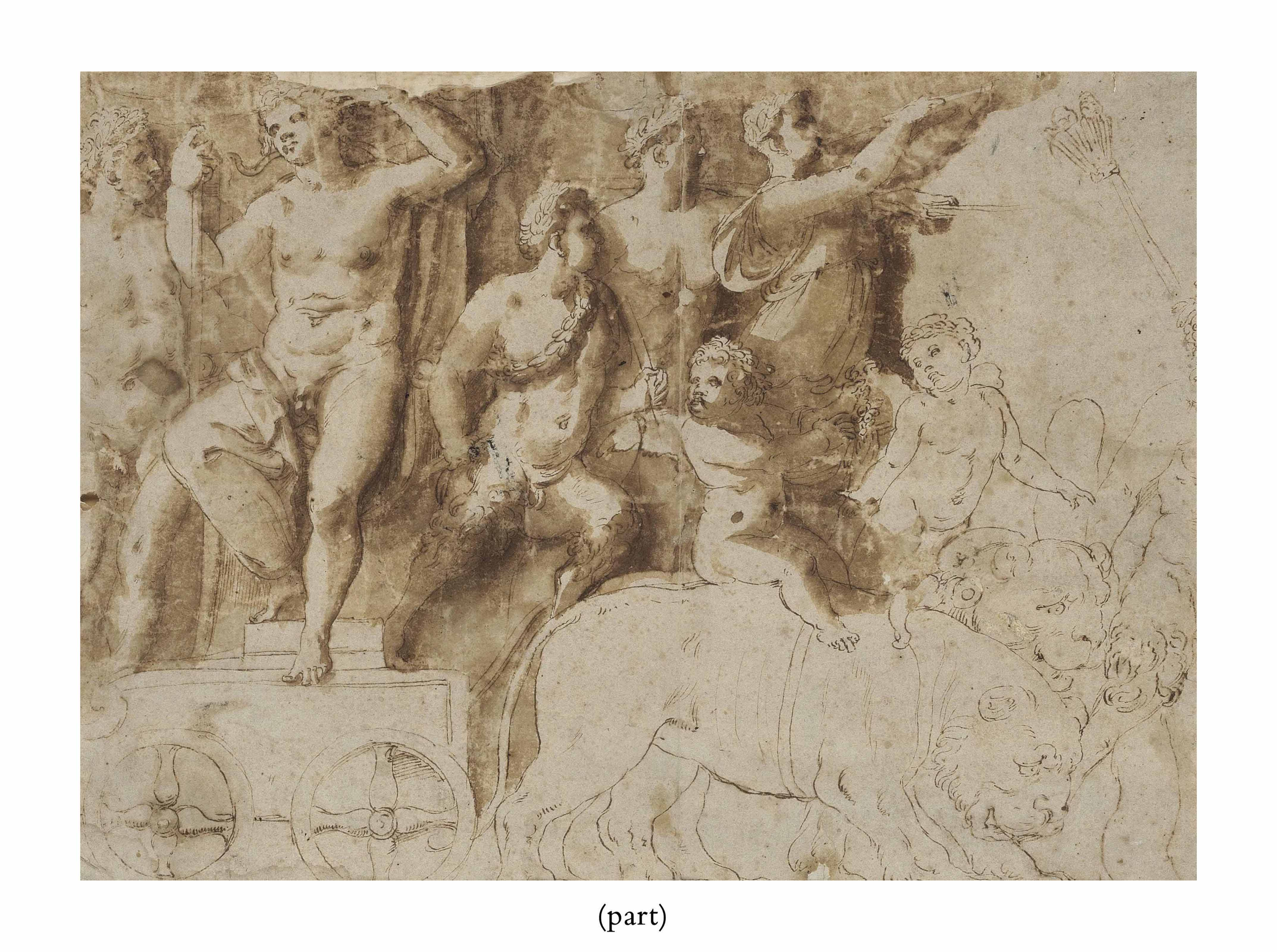 Bacchus, on a triumphal car drawn by lions, a satyr and other figures, all heads wreathed