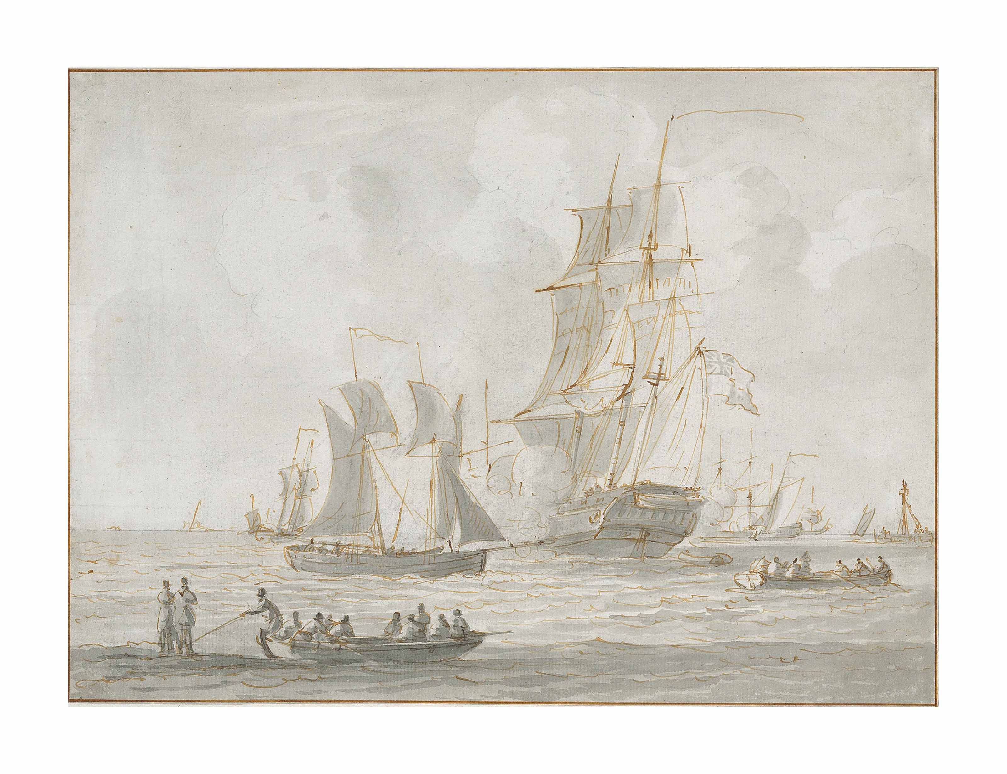 An English frigate firing a salute in crowded waters