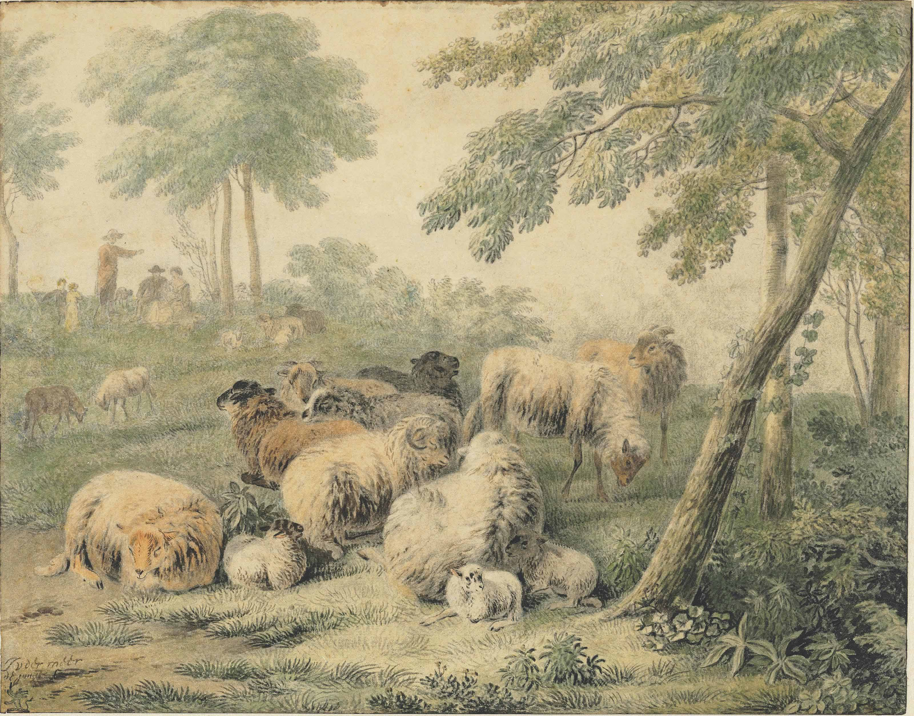 Sheep in a wooded landscape with peasants in the background