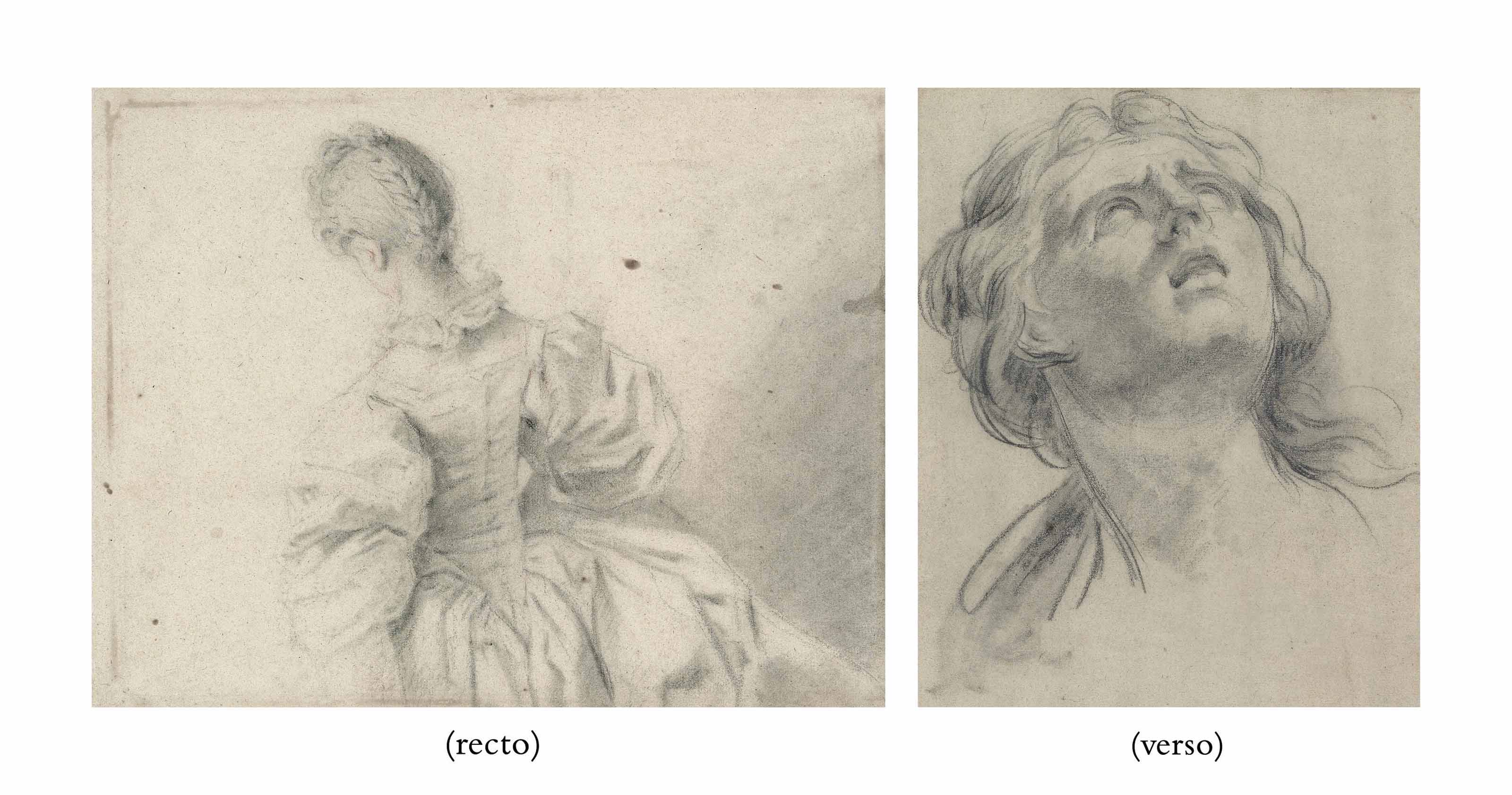 A woman seen from behind, after François Boucher (Paris 1703-1770) (recto); Head of a young woman (verso)