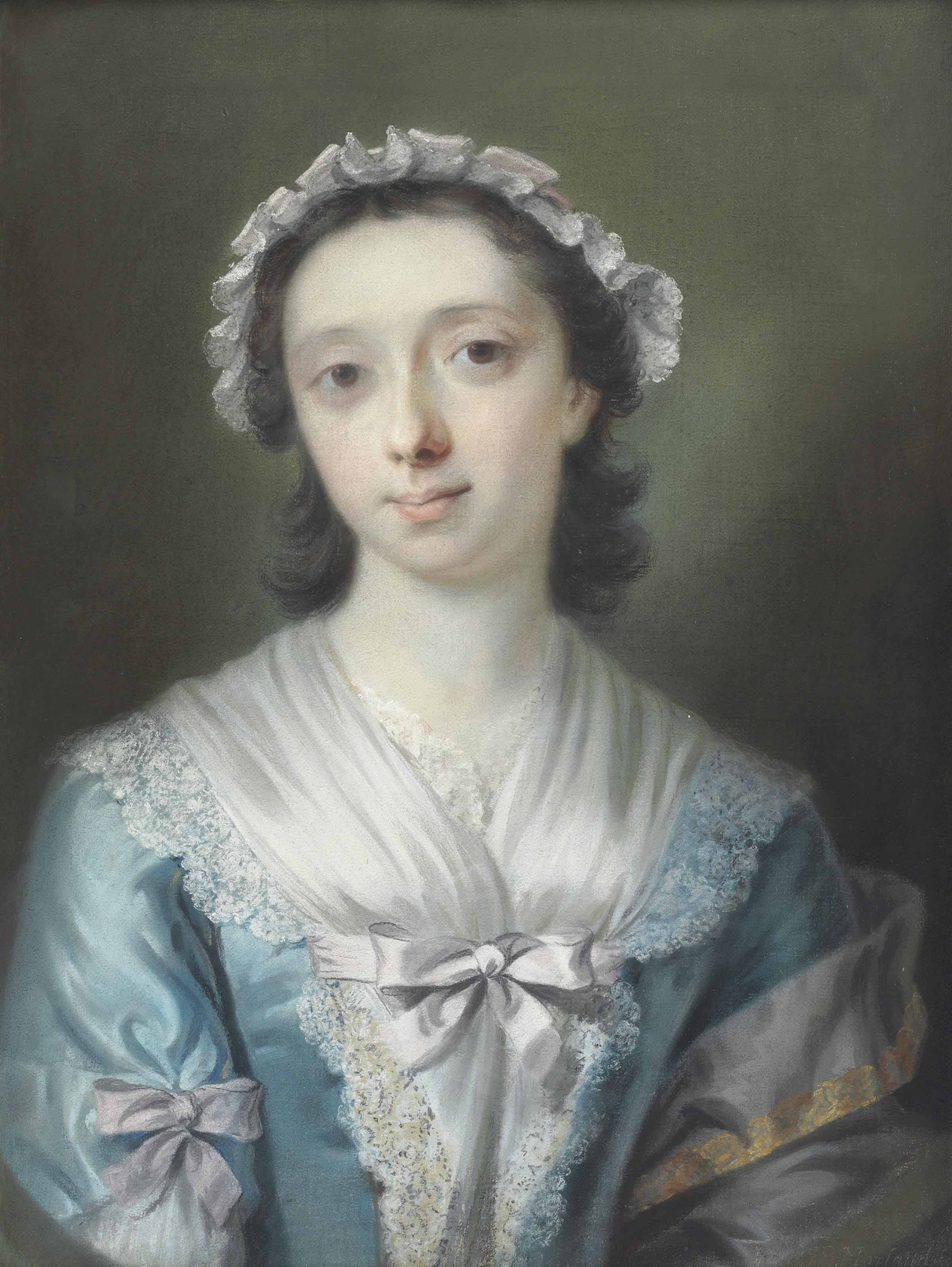 Portrait of Mary Tweedie (c. 1704-1784), half-length, in a blue lace-trimmed dress and white bonnet