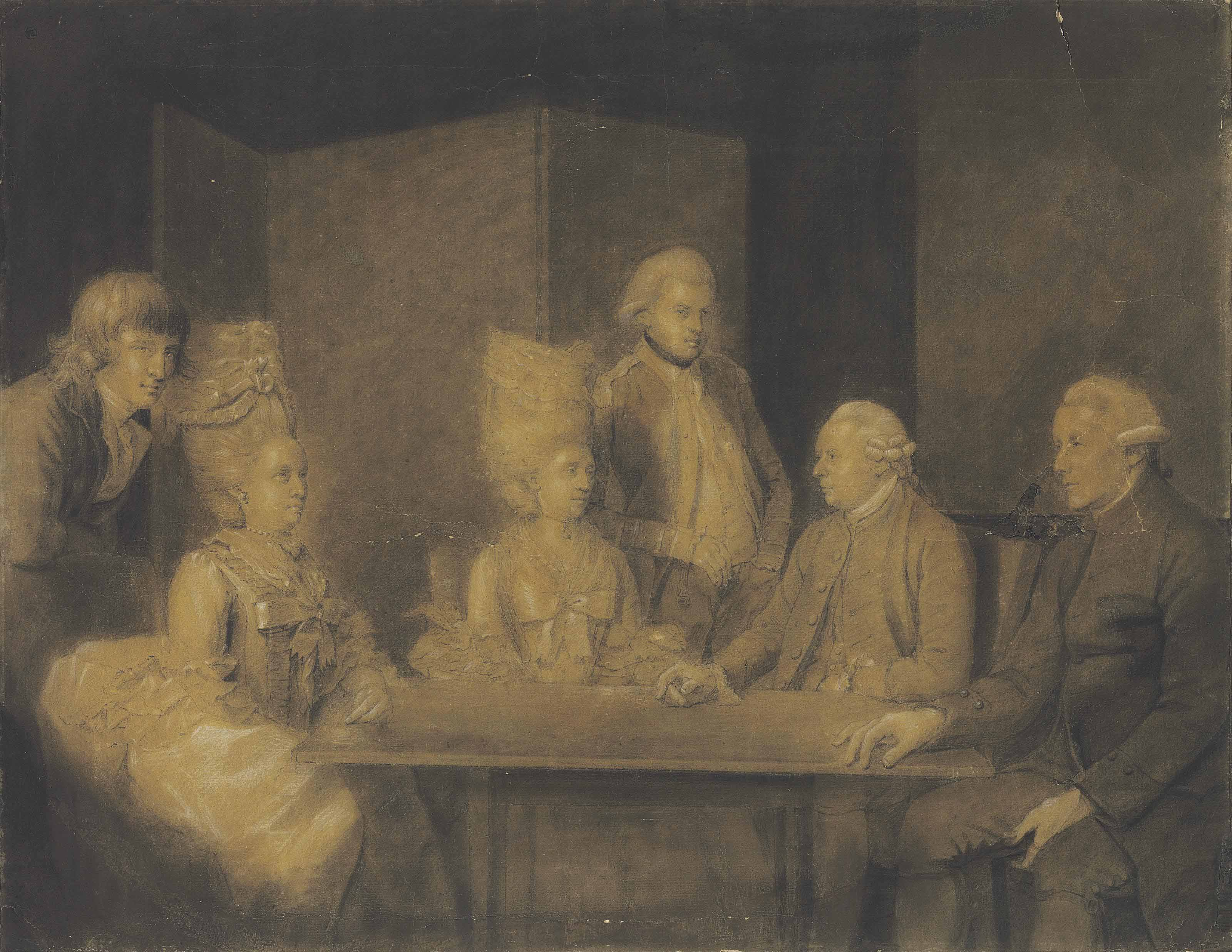 Figures seated around a table in an interior
