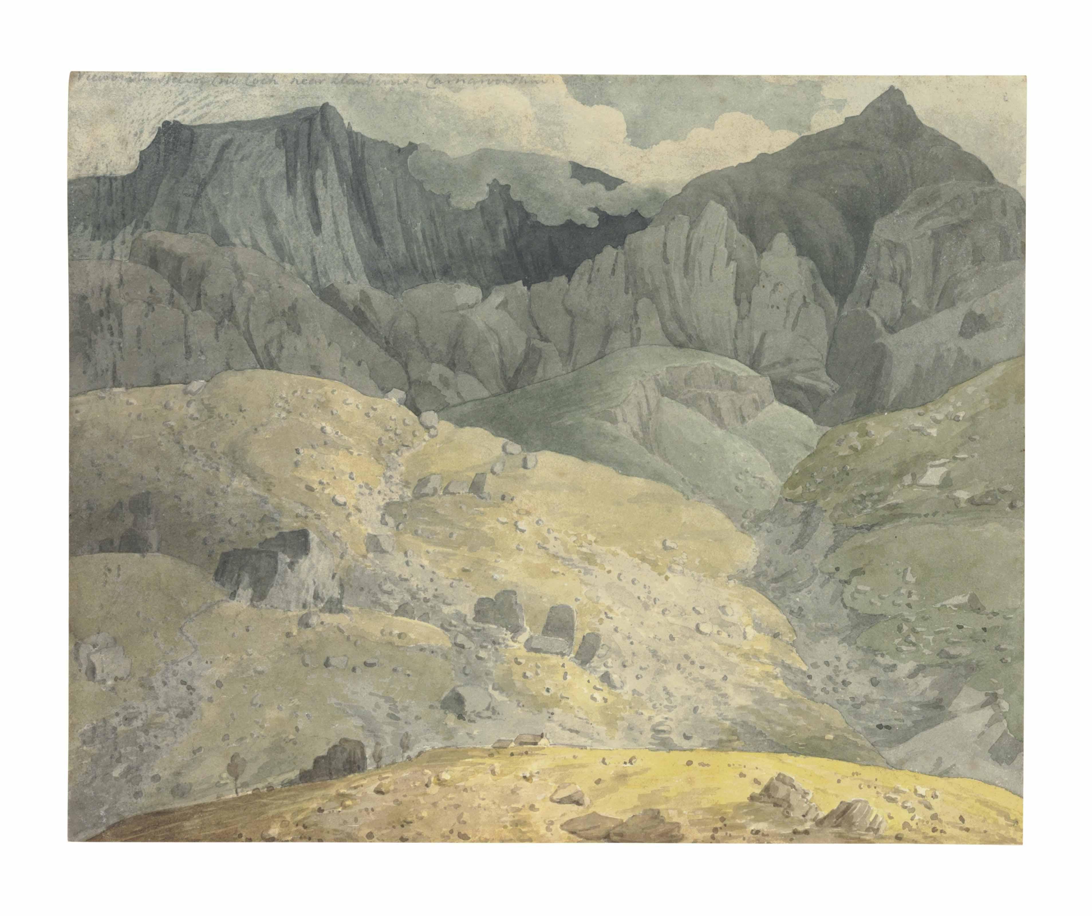View of Mount Snowdon and Crib Goch, Caernarvonshire, North Wales