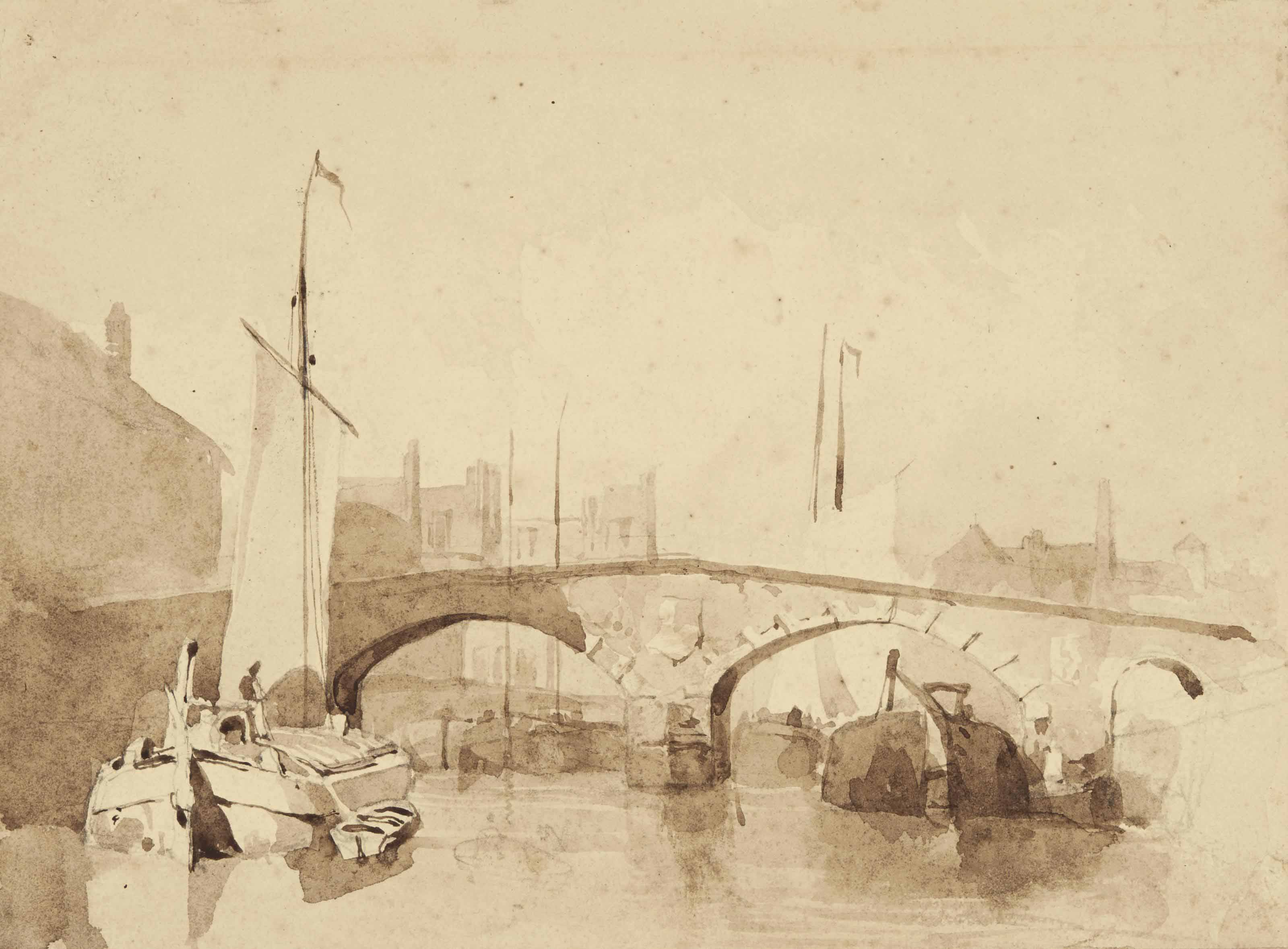 A sail barge and other shipping beneath a bridge, Northern France