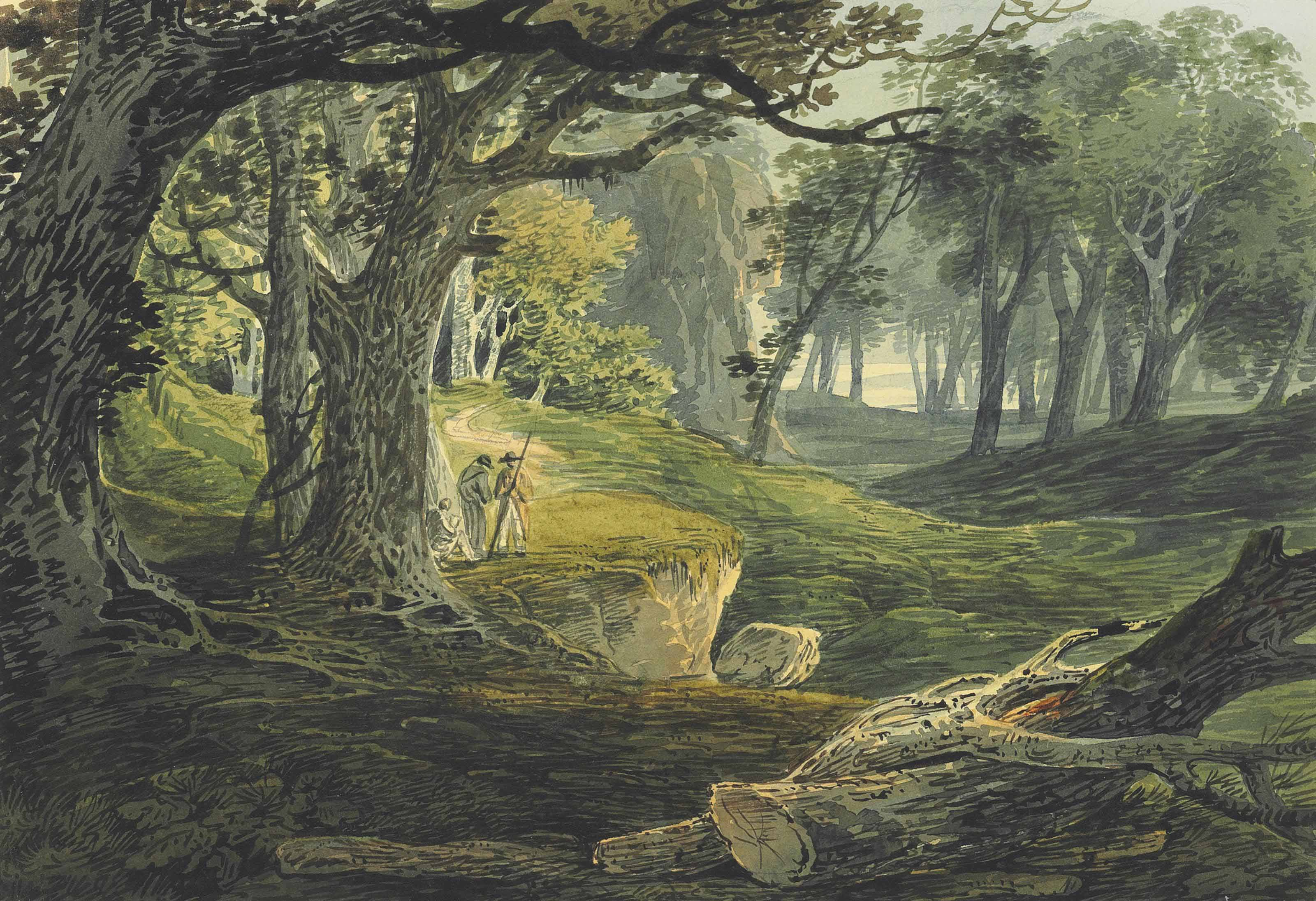 Travellers in a woodland glade; and Figures below a ruined Abbey, a cascade beyond
