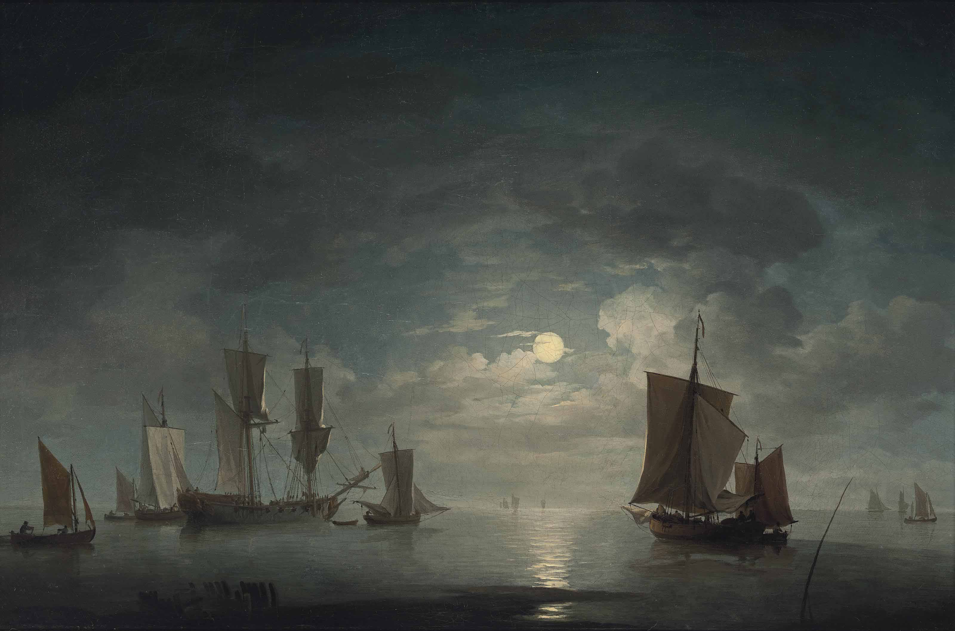 An English merchant brig and coastal craft becalmed by moonlight