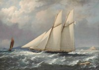 Lord Colville's schooner yacht Volage, flying the colours of the Royal Yacht Squadron, close-hauled and heading down the Channel past the Mewstone Rock
