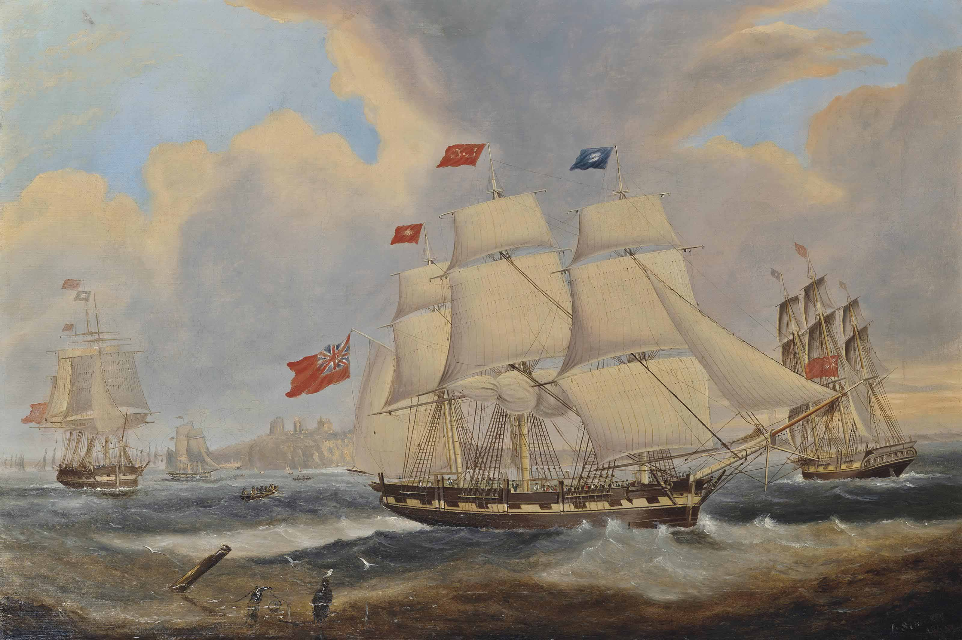 A merchantman, in three positions, at the the mouth of the Tyne