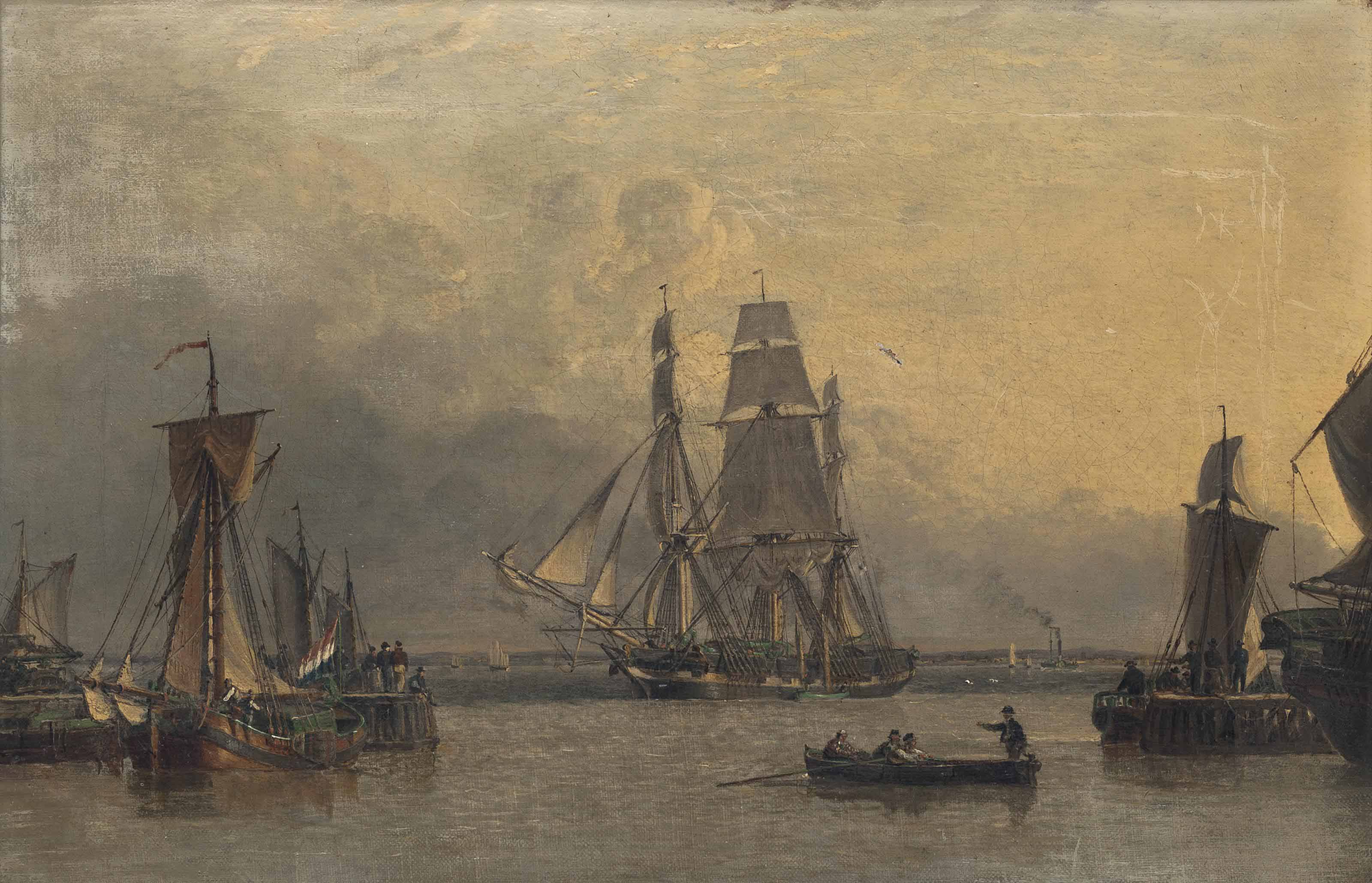 The William Lee arriving at the Humber Dock Basin, Hull, on her return from Calcutta, 22nd January 1839