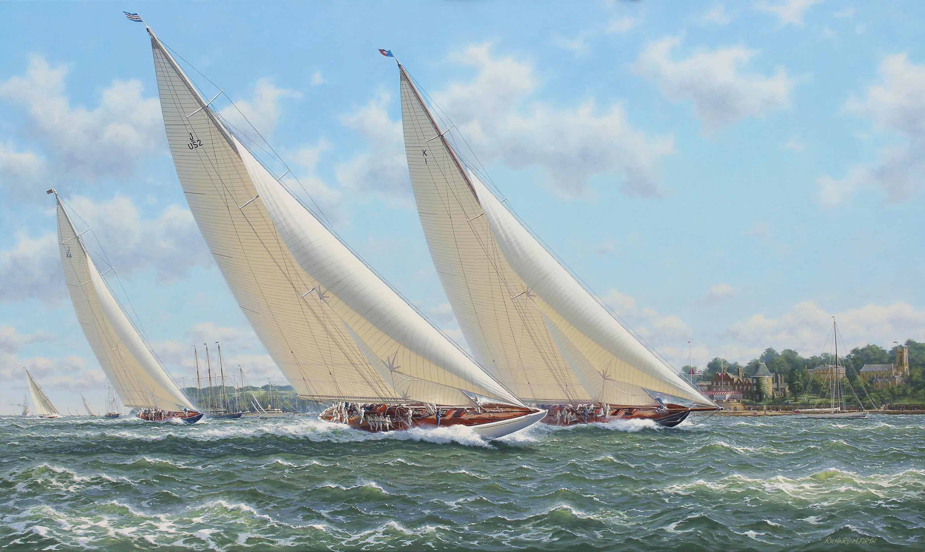 Yankee, Britannia and Endeavour racing in the Solent off the Royal Yacht Squadron, Cowes in the summer of 1935