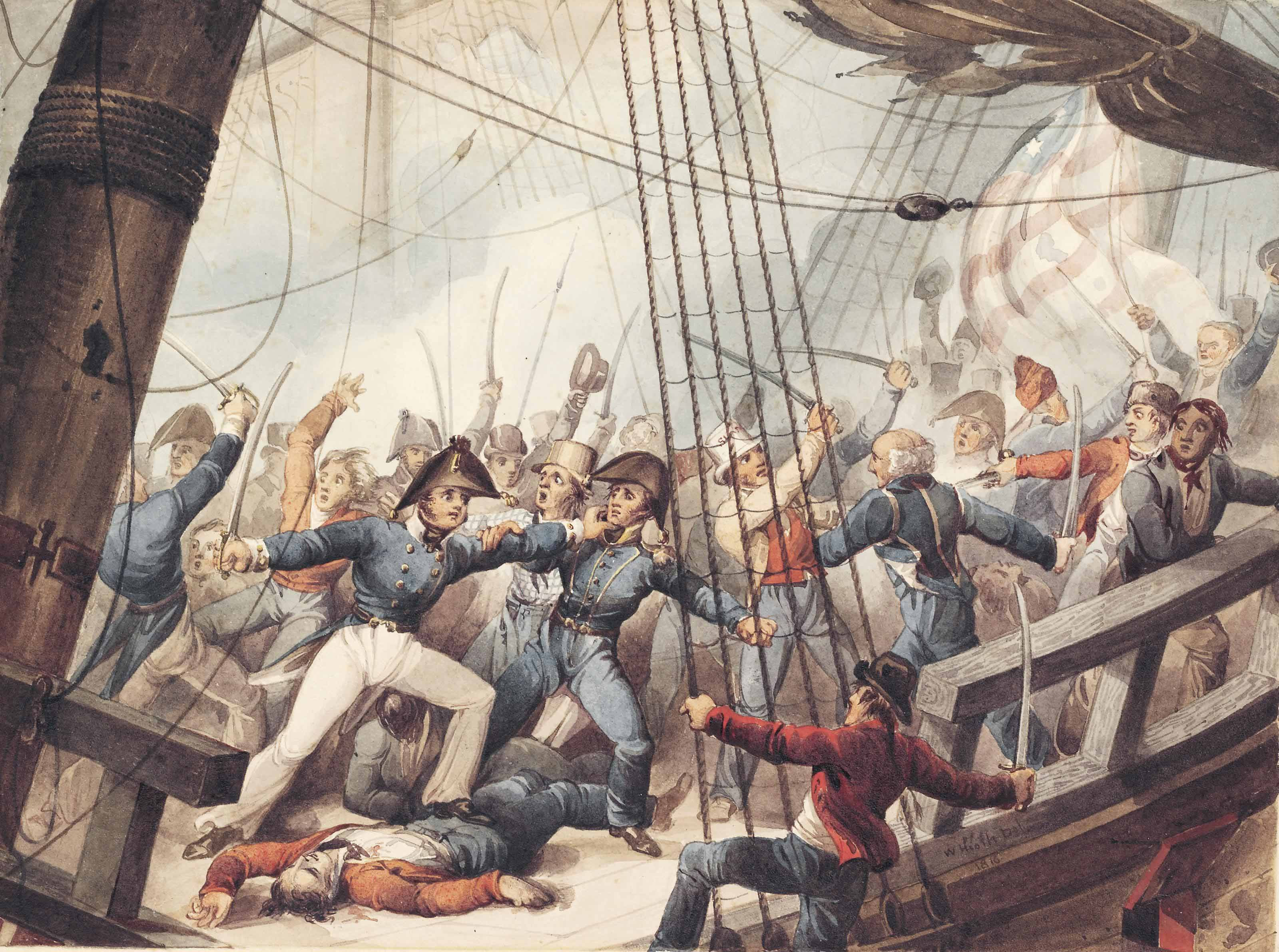 """The boarding and taking of the American frigate """"Chesapeak"""" by HM Frigate """"Shannon"""", 1st June 1813"""