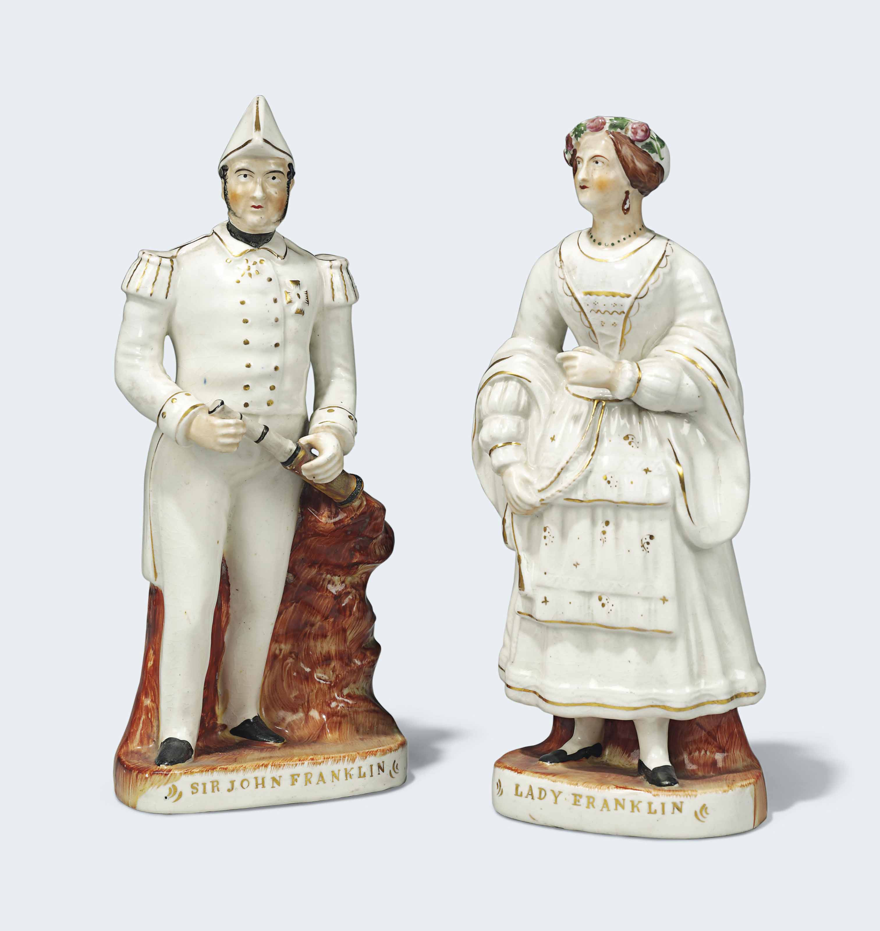 A PAIR OF STAFFORDSHIRE FIGURES OF SIR JOHN FRANKLIN AND LADY FRANKLIN, 19TH CENTURY
