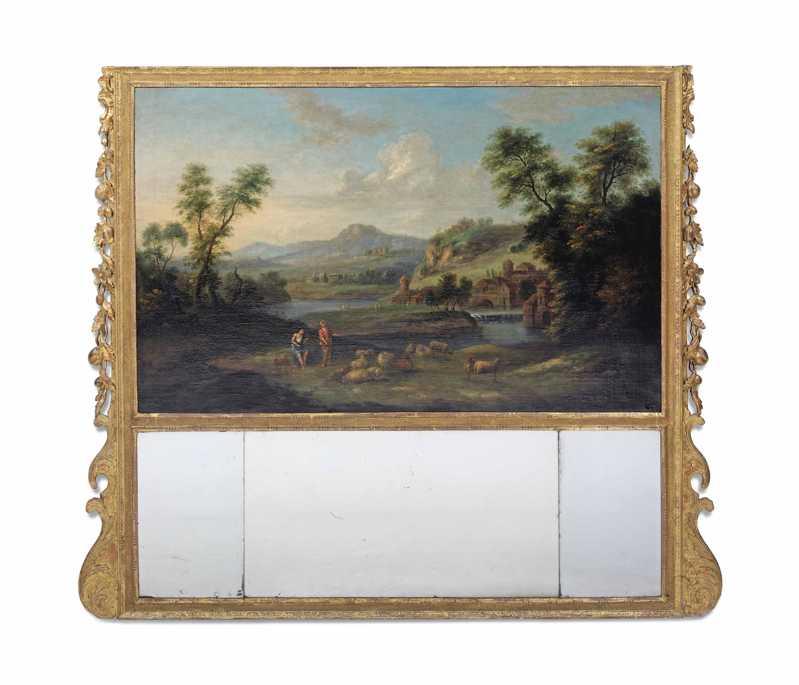 A GEORGE II GILTWOOD TRUMEAU MIRROR INCORPORATING AN OIL ON CANVAS OF AN ARCADIAN LANDSCAPE