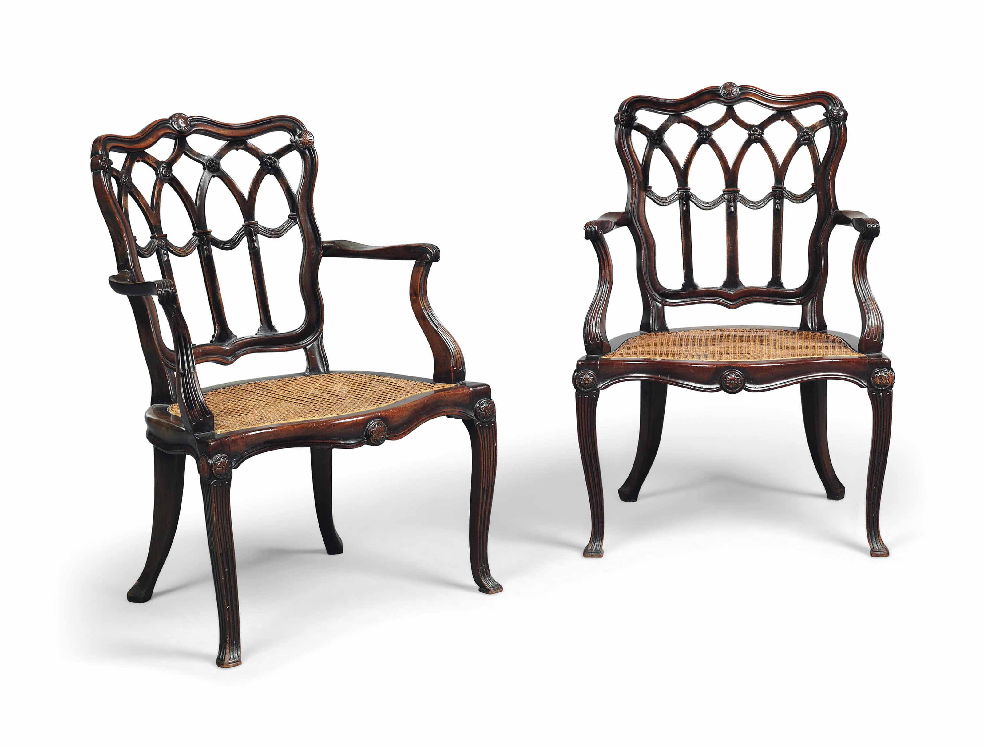 A PAIR OF GEORGE III-STYLE MAHOGANY ARMCHAIRS