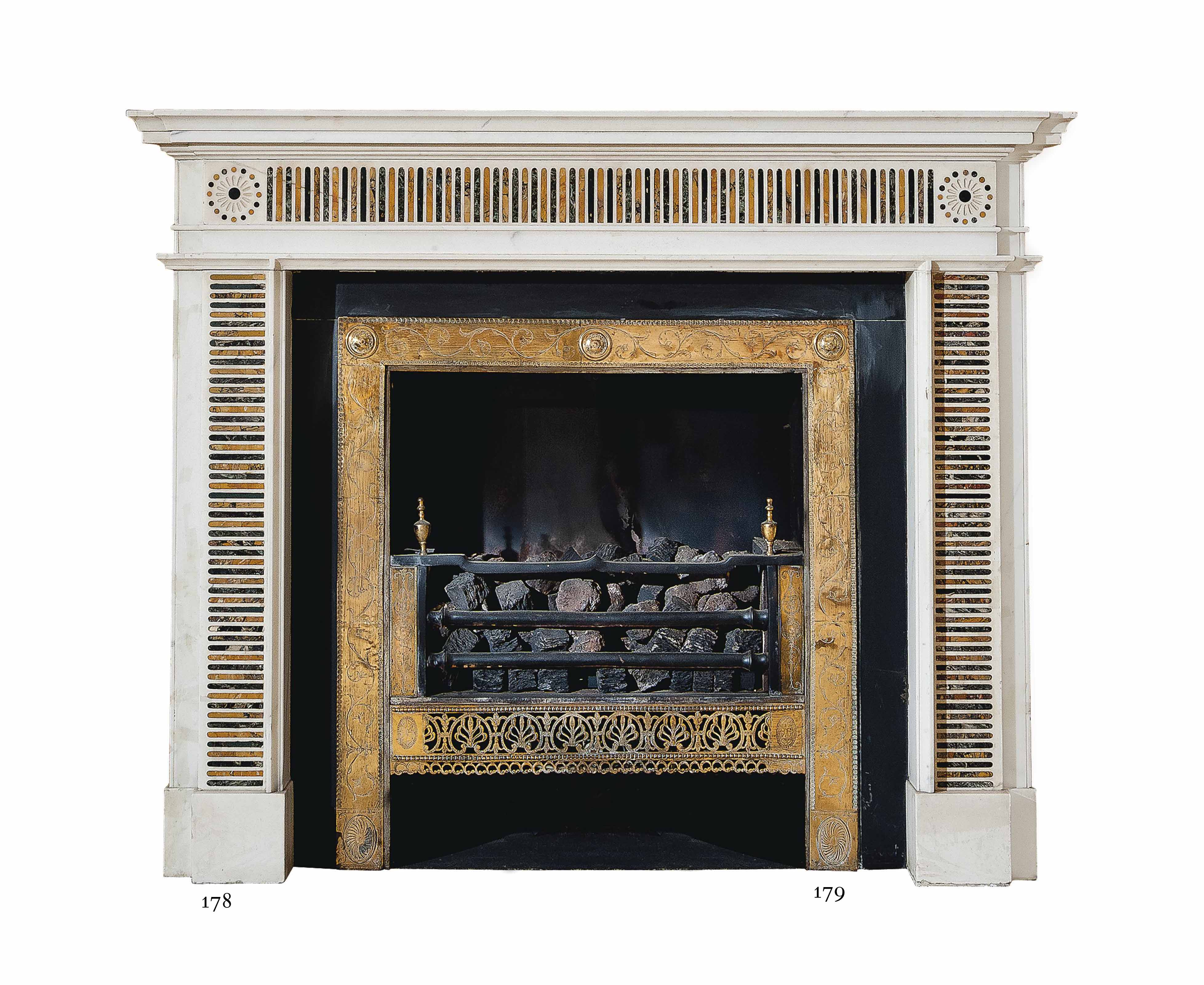 A GEORGE III-STYLE SIENA AND VERDE ANTICO INLAID STATUARY MARBLE CHIMNEYPIECE