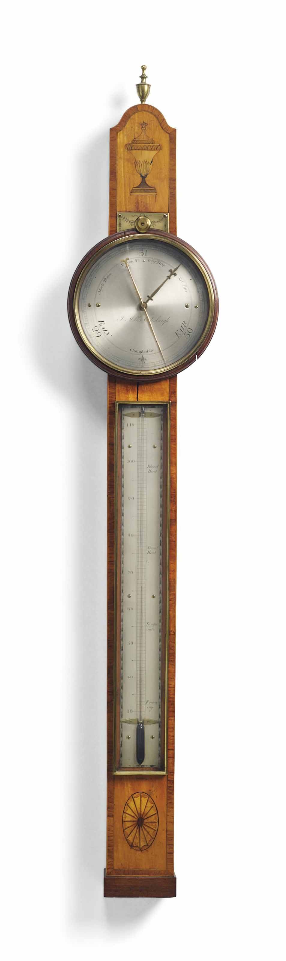 A SCOTTISH GEORGE III TULIPWOOD CROSSBANDED SATINWOOD BAROMETER AND THERMOMETER