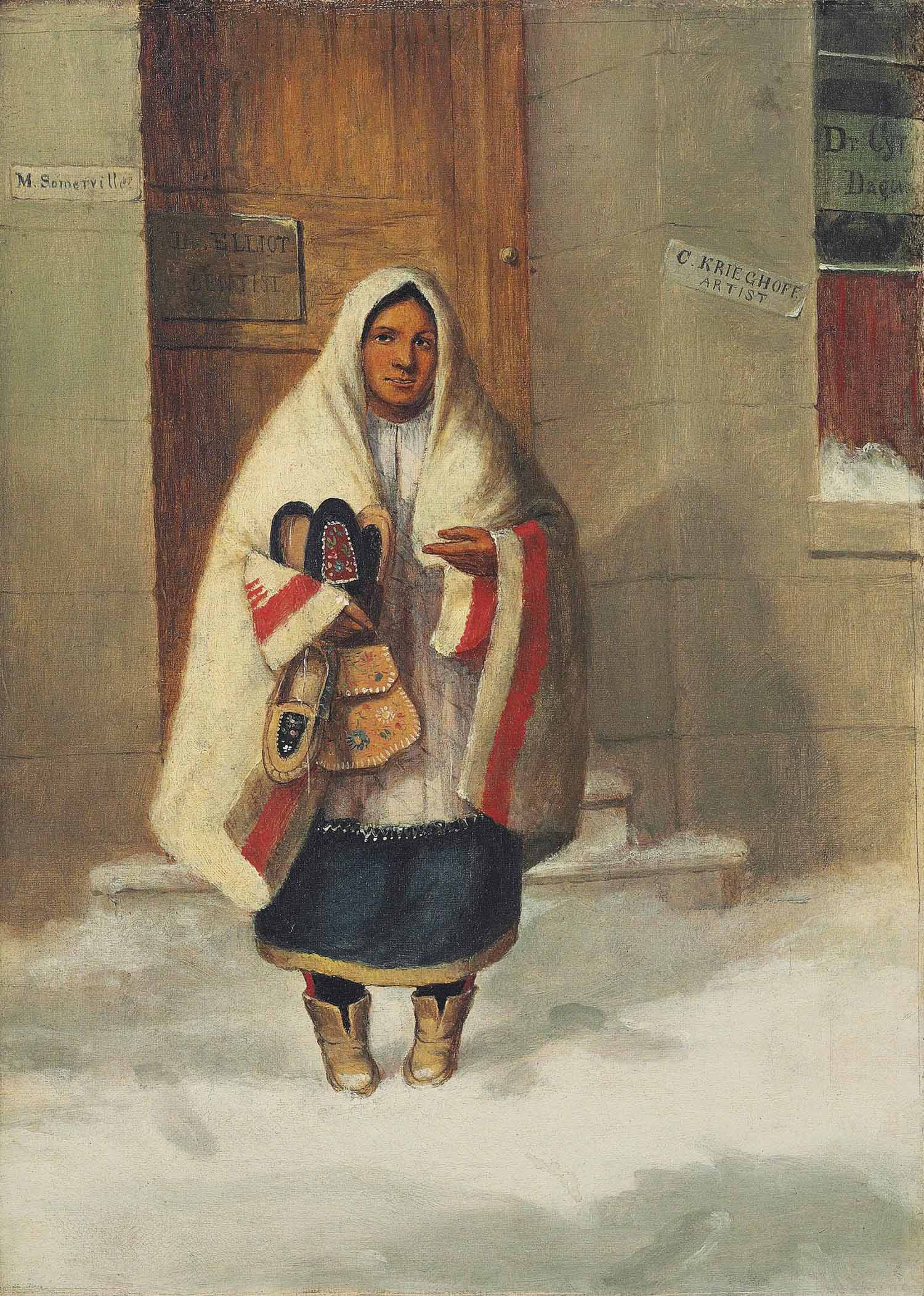A Moccasin seller outside the artist's studio (c.1849) [Marie of Montreal]