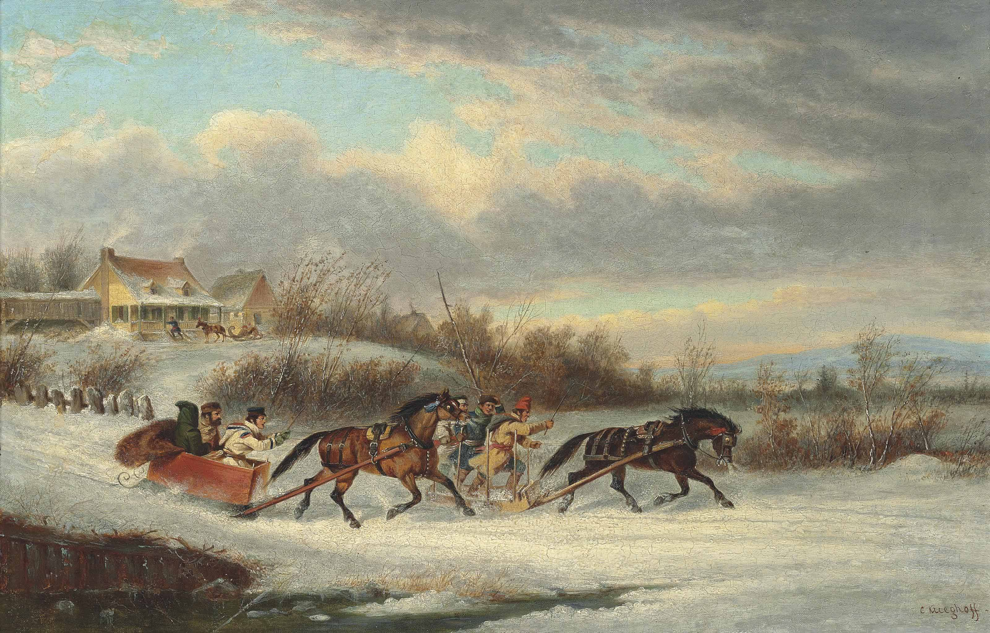 The Sleigh Race, Quebec, 1856