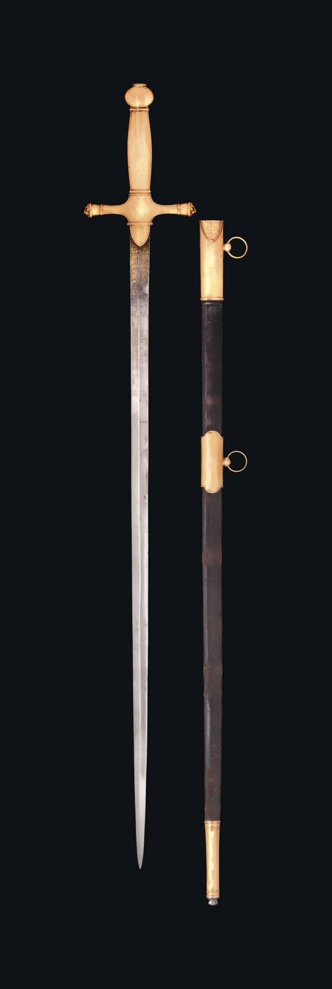A FINE & IMPORTANT FRENCH GOLD-HILTED SWORD (GLAIVE) CARRIED BY FIELD-MARSHAL THE DUKE OF WELLINGTON, PRESENTED BY HIM TO LT. COL. SIR HENRY HARDINGE AS A SWORD OF HONOUR AND SAID TO HAVE BEEN MADE FOR THE EMPEROR NAPOLÉON I