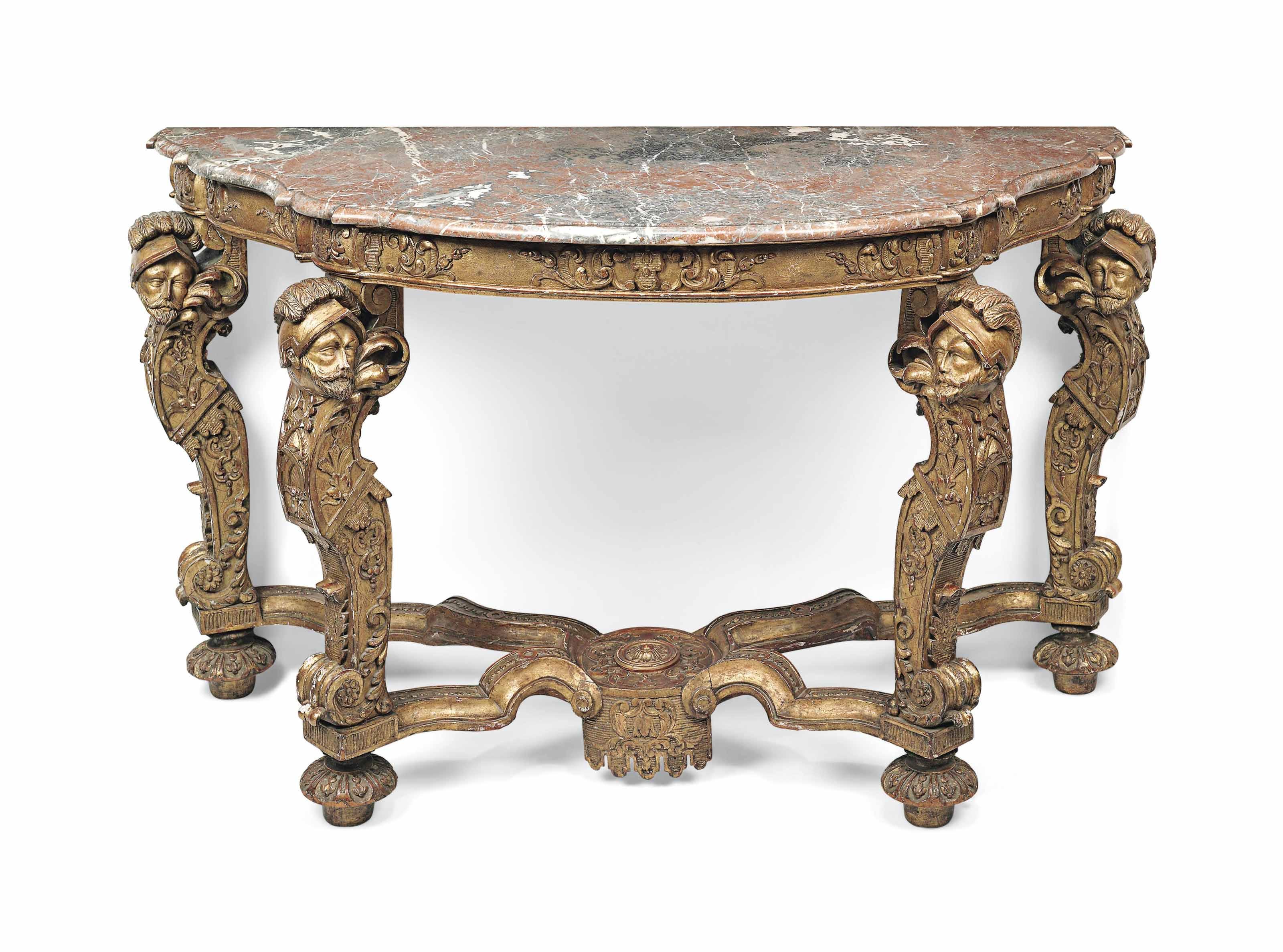 A DUTCH GILTWOOD CONSOLE TABLE