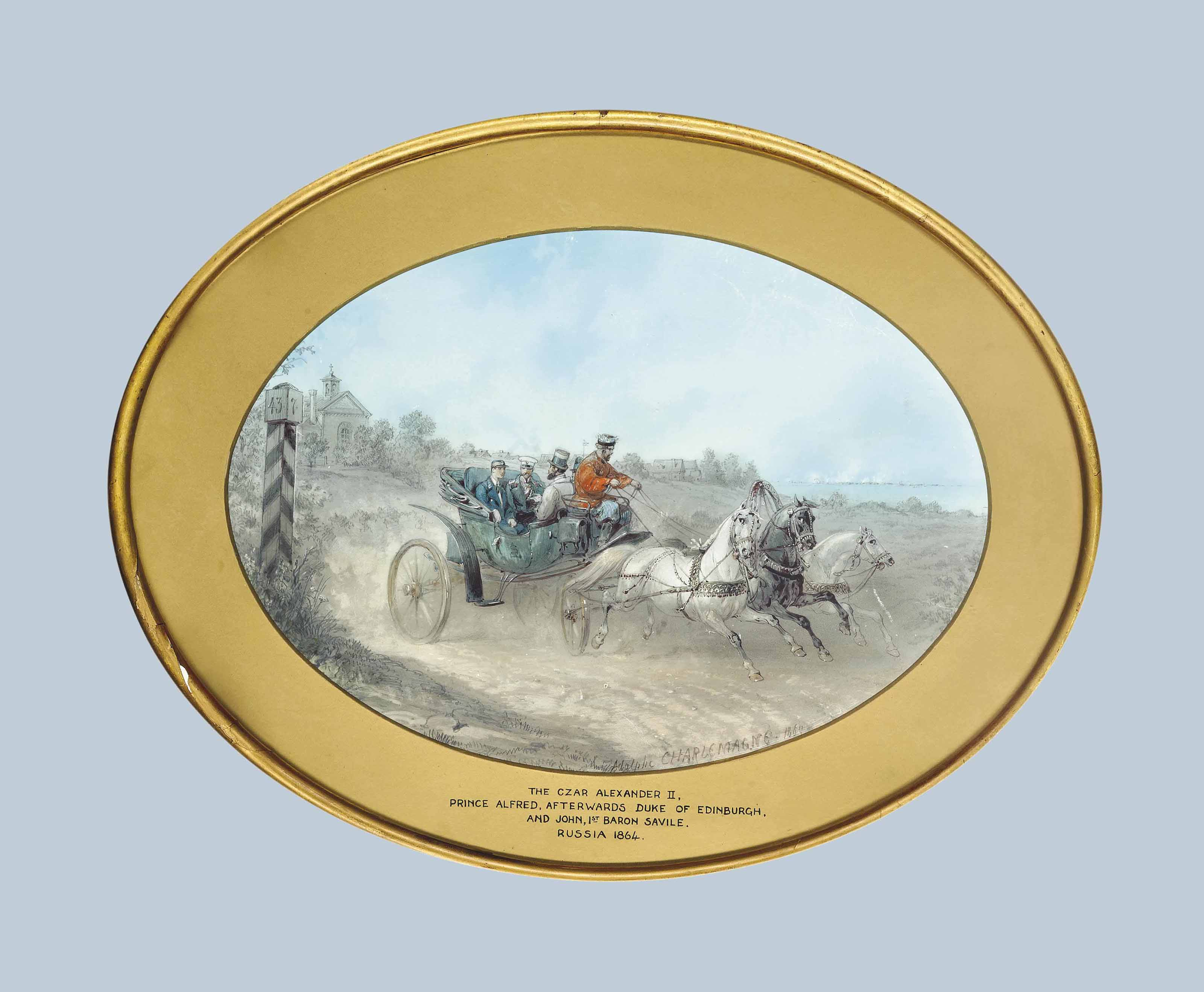 A group traditionally identified as Czar Alexander II, Prince Alfred, afterwards Duke of Edinburgh and John Savile 1st Baron Savile of Pontefract riding in a carriage
