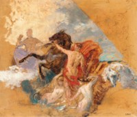 Study for a classical scene with figures and horses