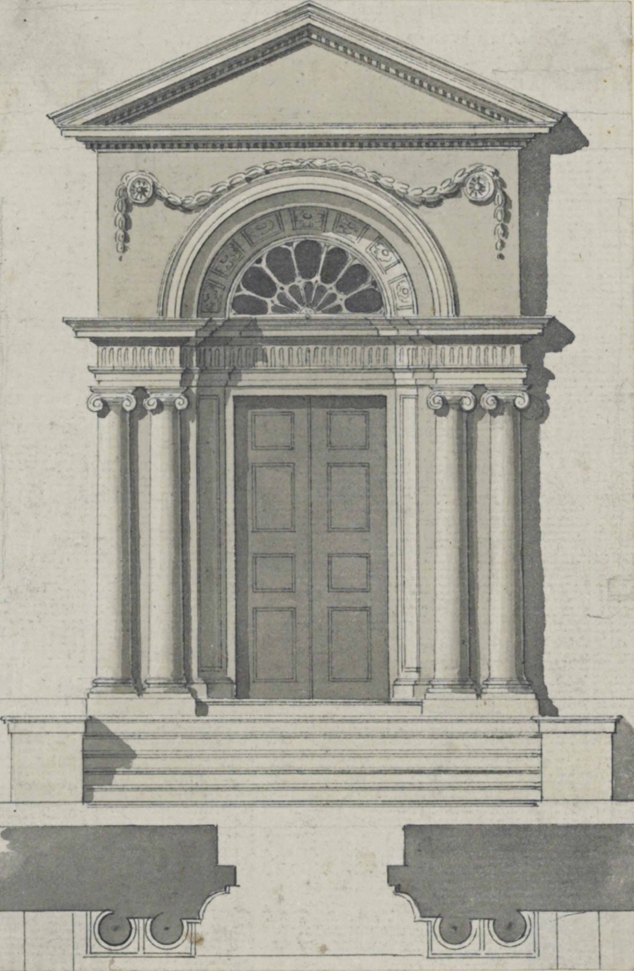 Design for a neo-classical entrance and doorway with subsidiary plans of the supporting Ionic columns