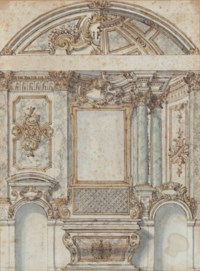 Design for an altar with alternative styles for the walls, niche and vault