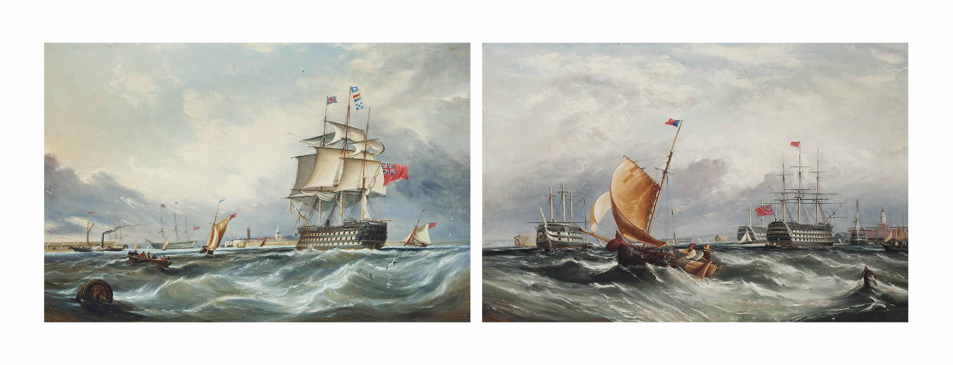 A three-decker calling for a pilot at the entrance to Portsmouth Harbour, with a paddle steamer and other shipping beyond; and Fishermen on a blustery day with prison hulks and a three-decker lying at anchor in Portsmouth Harbour