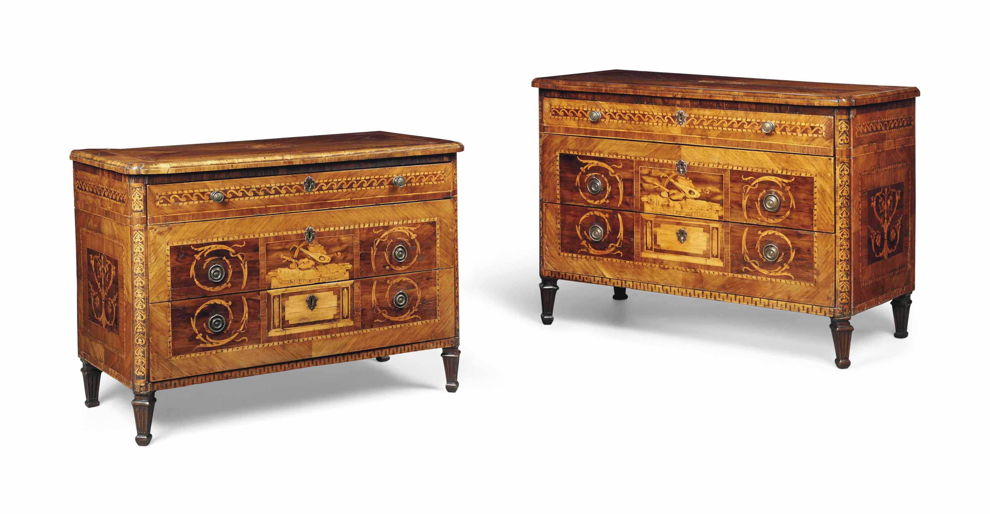A PAIR OF NORTH ITALIAN WALNUT, FRUITWOOD AND MARQUETRY COMMODES