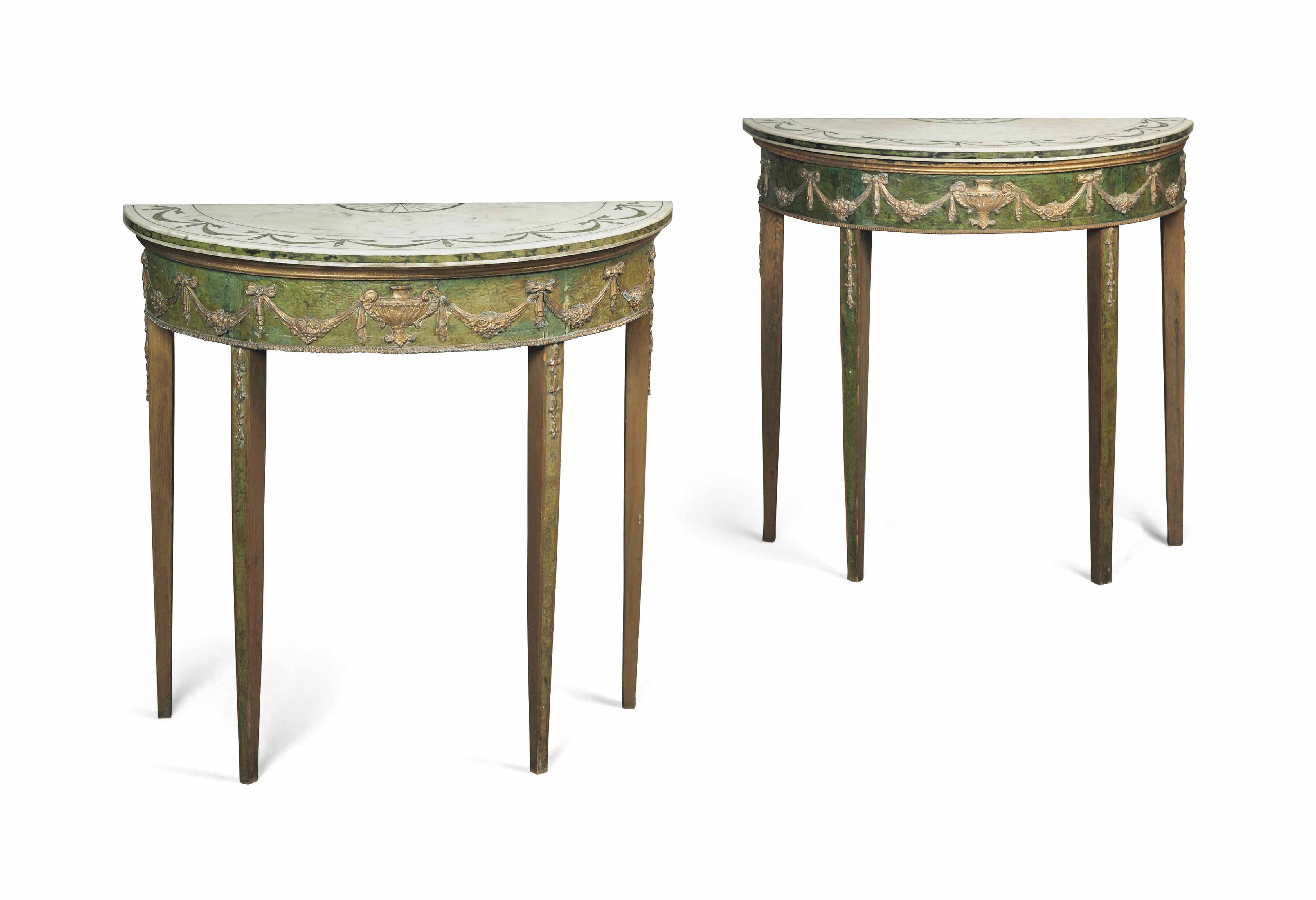 A PAIR OF GILT-METAL MOUNTED POLYCHROME-PAINTED DEMI-LUNE SIDE TABLES