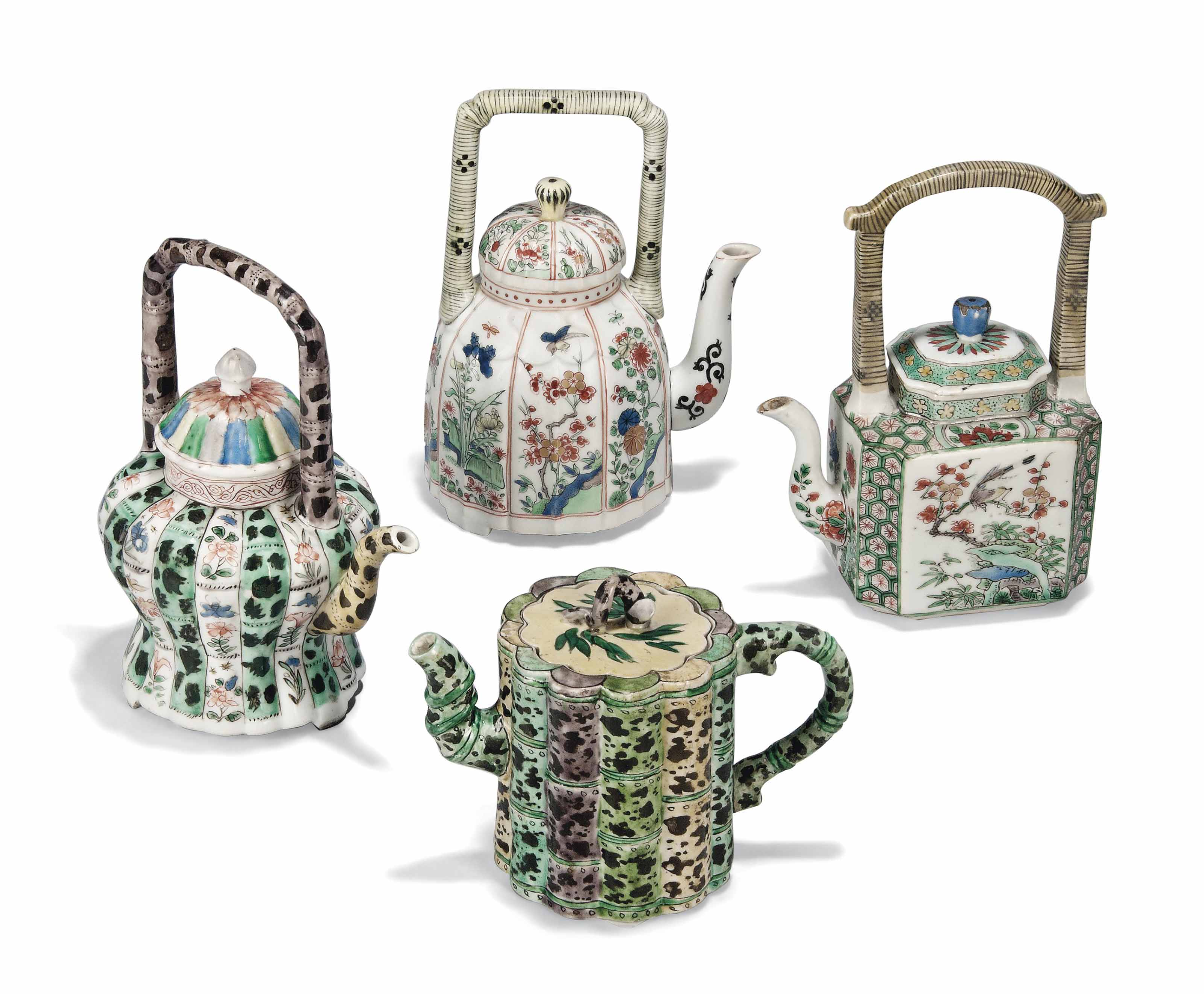 FOUR CHINESE FAMILLE VERTE TEAPOTS