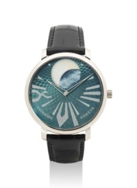 ANDERSEN. A FINE 18K WHITE GOLD LIMITED EDITION AUTOMATIC WRISTWATCH WITH MOTHER-OF-PEARL MOON PHASES