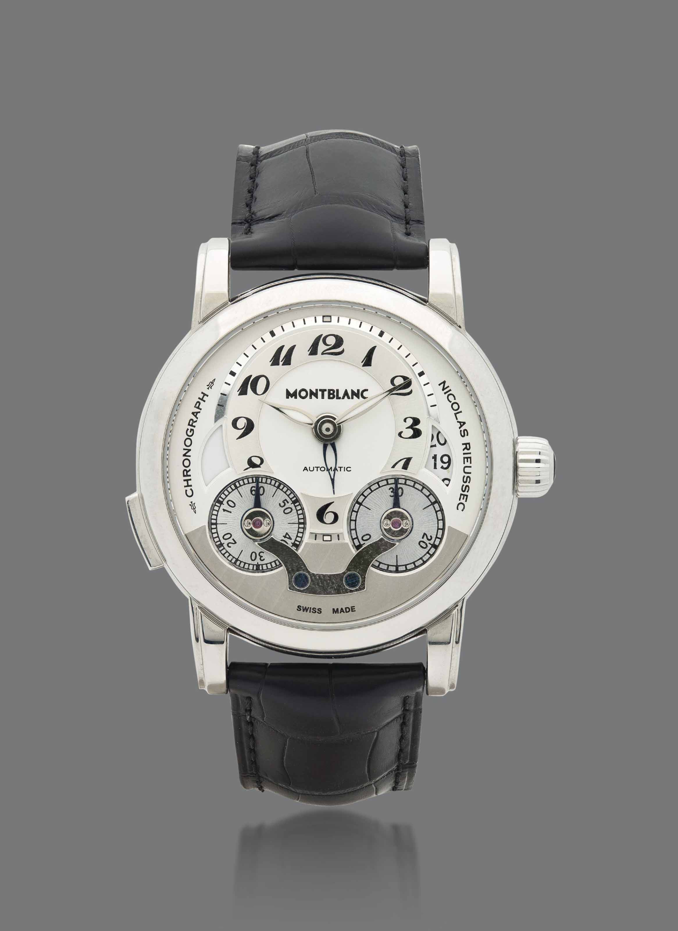 MONTBLANC. A FINE STAINLESS STEEL AUTOMATIC DUAL TIME SINGLE BUTTON CHRONOGRAPH WRISTWATCH WITH DATE AND TURNING DISC REGISTERS