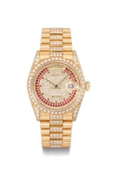 Rolex. A superb 18k gold, diam