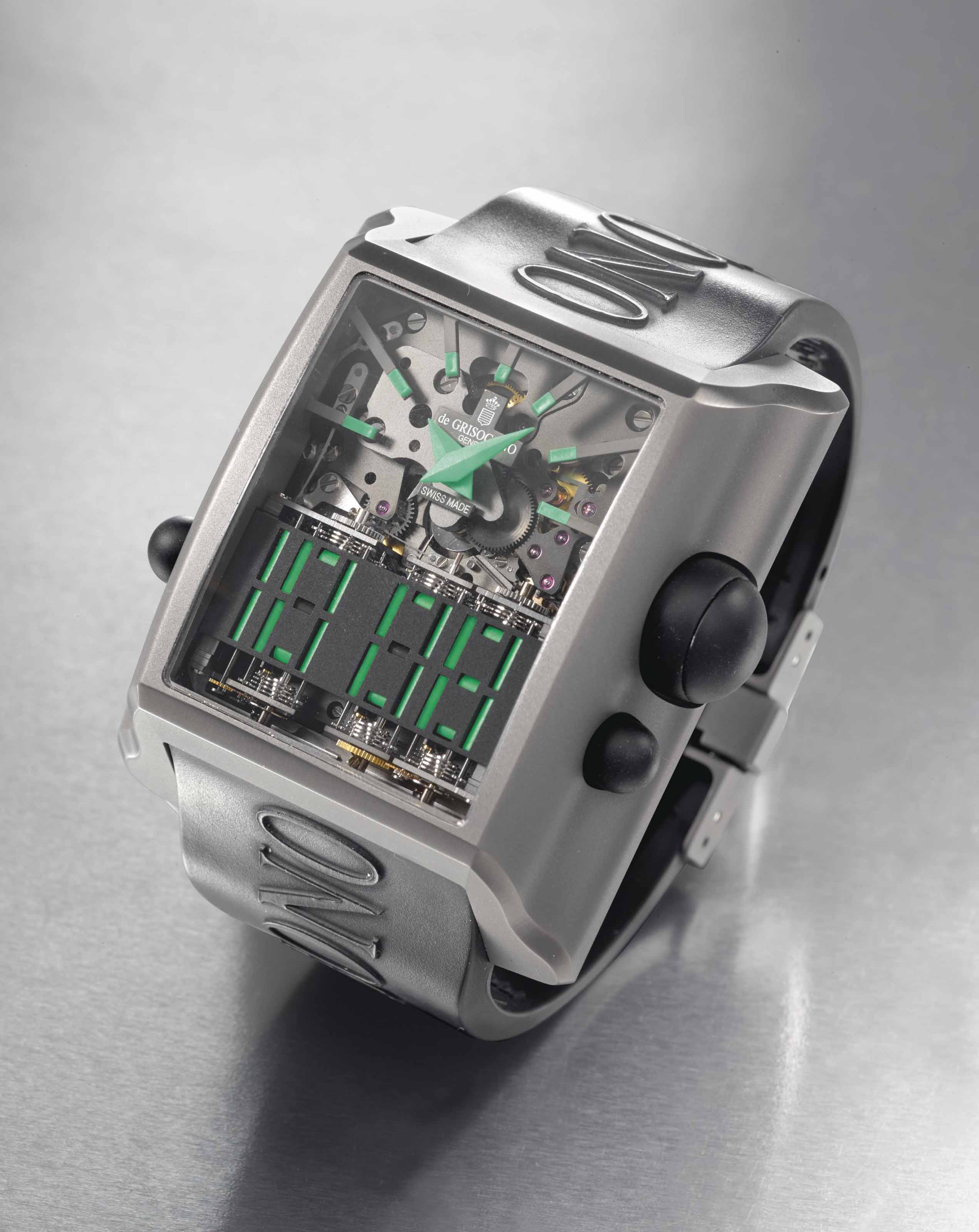 de Grisogono. A fine and rare titanium limited edition dual time wristwatch with mechanical analog and digital time display, original warranty and box