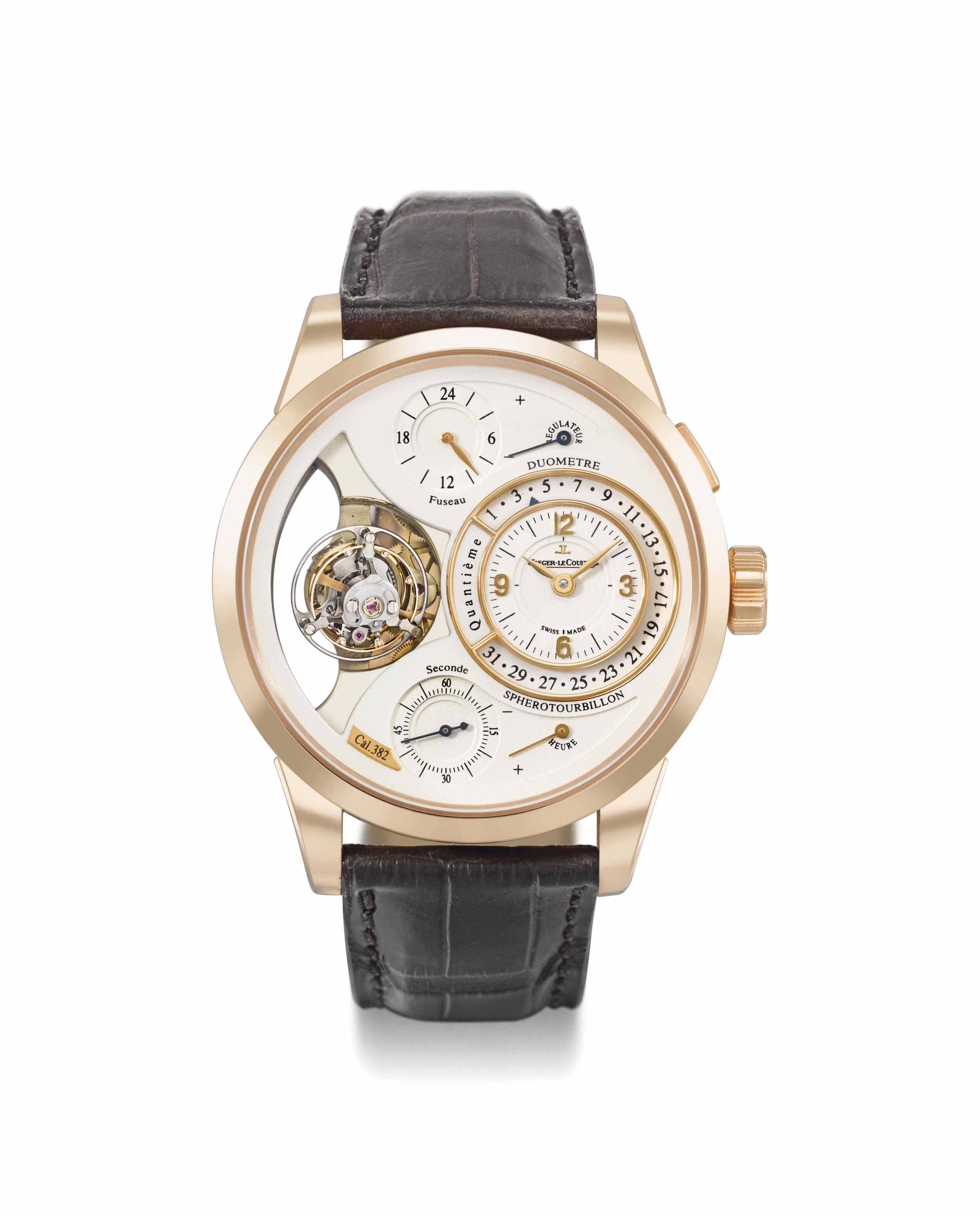 Jaeger-LeCoultre. A very rare and highly complicated 18K pink gold wristwatch with retrograde date, fly-back seconds, tourbillon, guarantee and box
