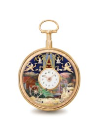 Swiss. A fine, rare and attractive 18K gold and enamel openface à toc quarter repeating automaton watch