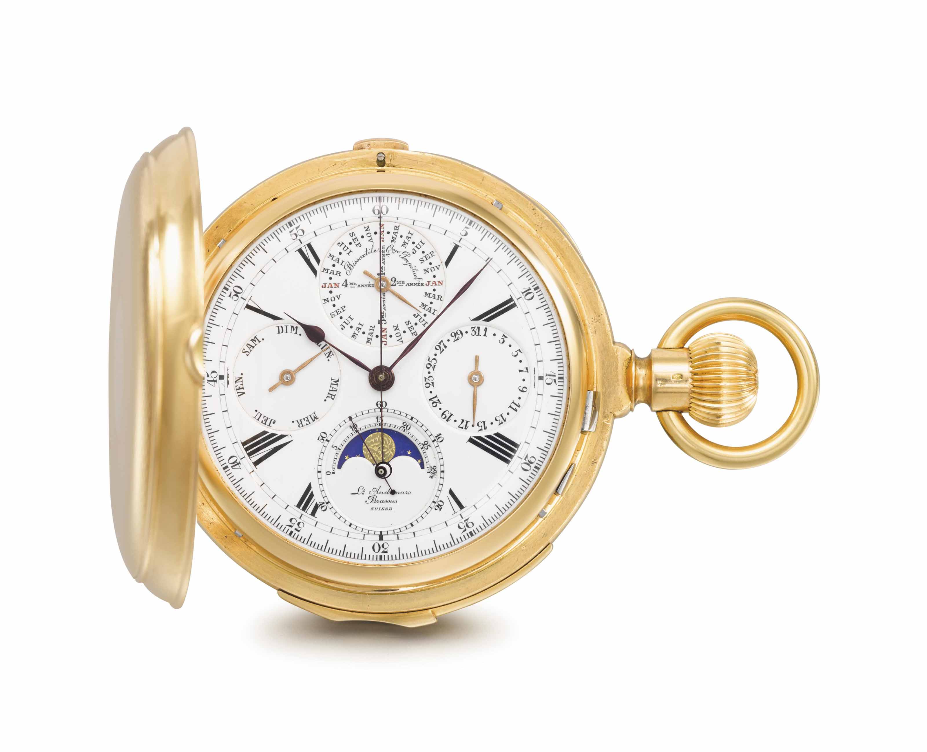 Audemars Piguet. A fine and rare 18K gold hunter case minute repeating perpetual calendar chronograph keyless lever watch with phases of the moon