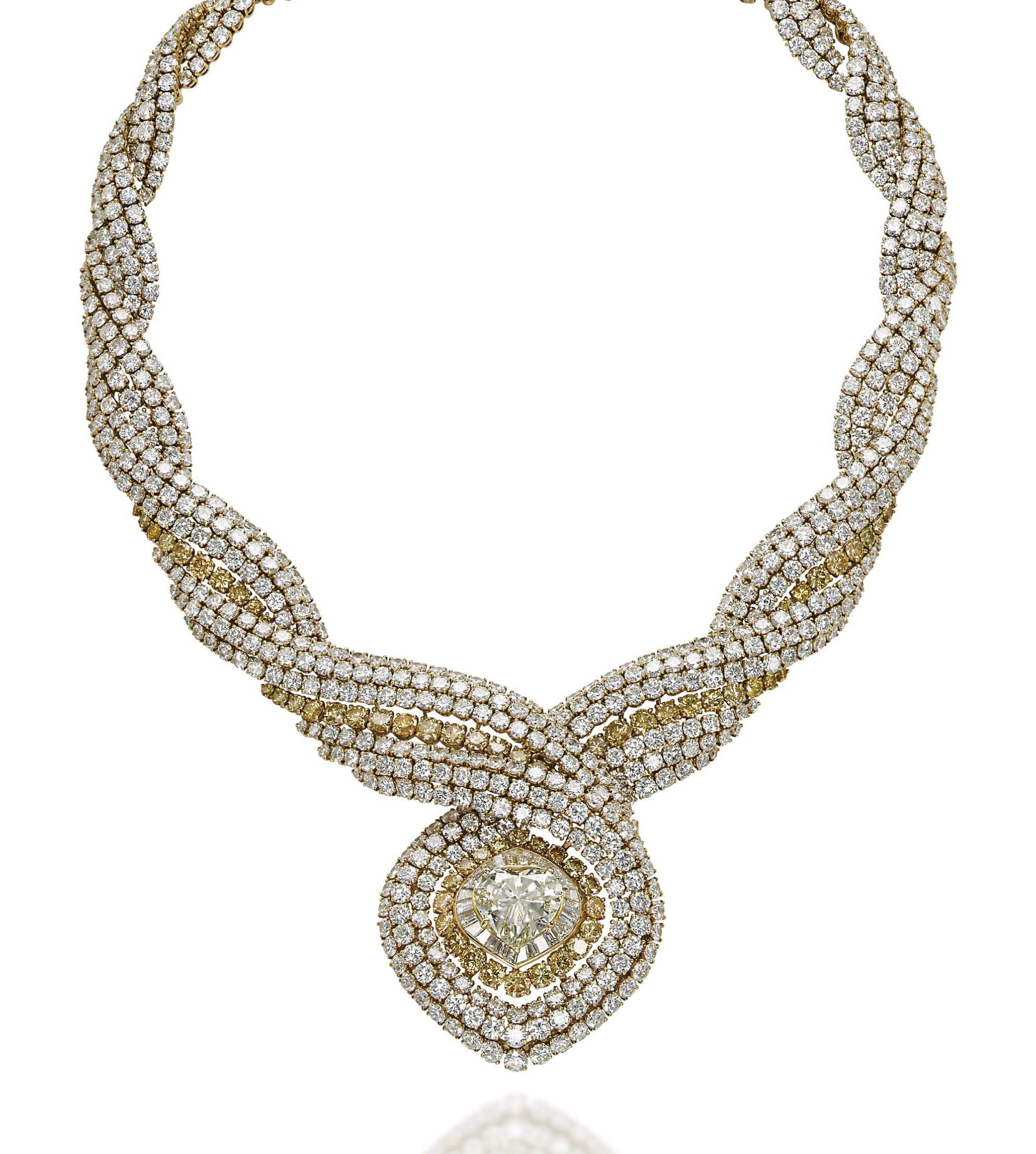 A COLOURED DIAMOND AND DIAMOND NECKLACE, BY MAUBOUSSIN