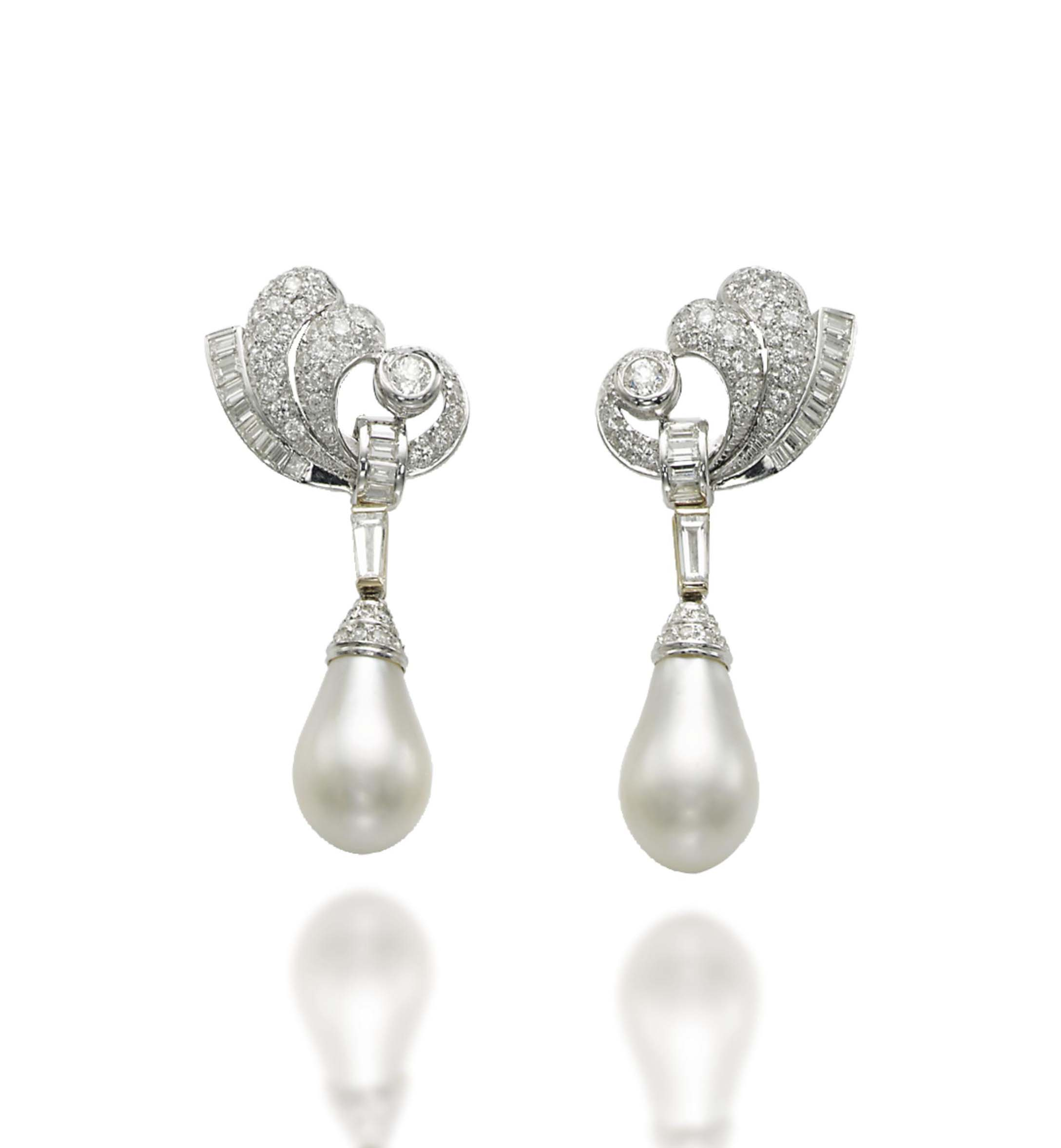 A PAIR OF NATURAL PEARL AND DIAMOND EAR PENDANTS, BY MASSONI