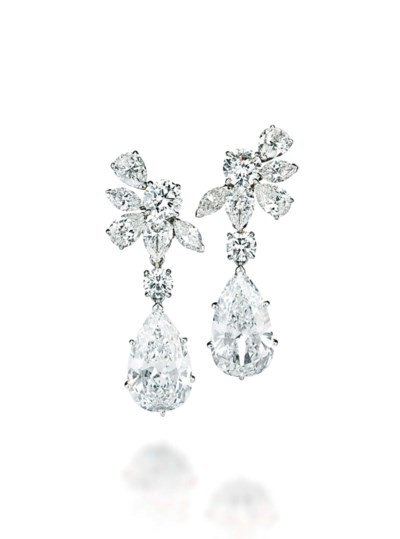 a pair of diamond ear pendants  by van cleef  u0026 arpels