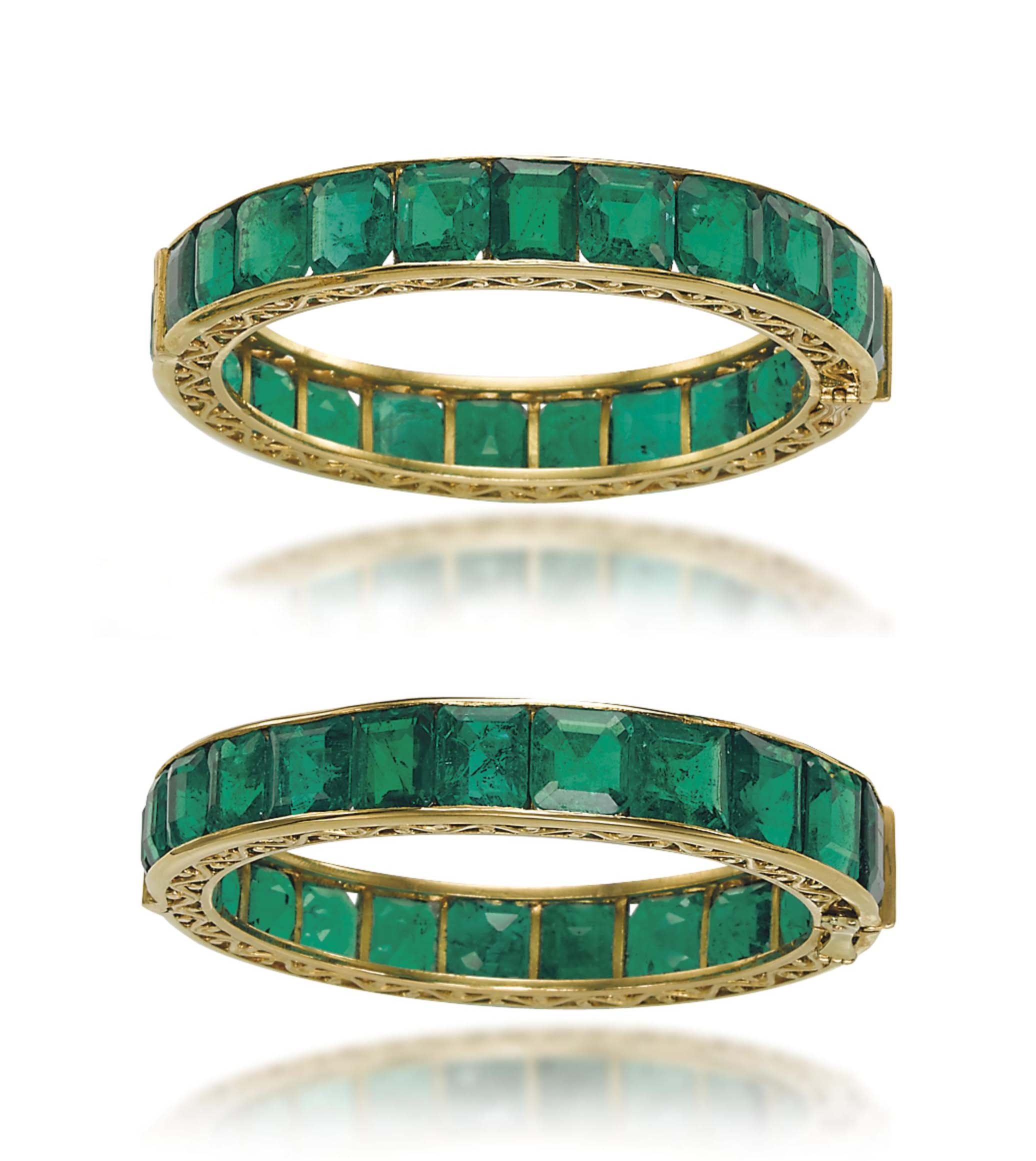 pair gold bangles zoom hover of in set emerald ruby to