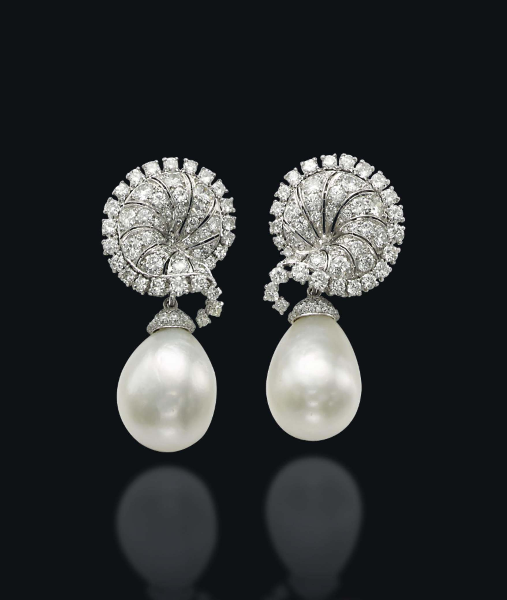 A PAIR OF NATURAL PEARL AND DIAMOND EAR PENDANTS, BY CHAUMET