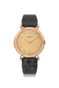 Vacheron Constantin. An extremely fine, rare and large 18K pink gold minute repeating wristwatch with champagne dial