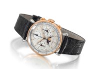 Audemars Piguet. An extremely rare and attractive stainless steel and 14K pink gold full calendar chronograph wristwatch with moon phases and two-tone silvered dial