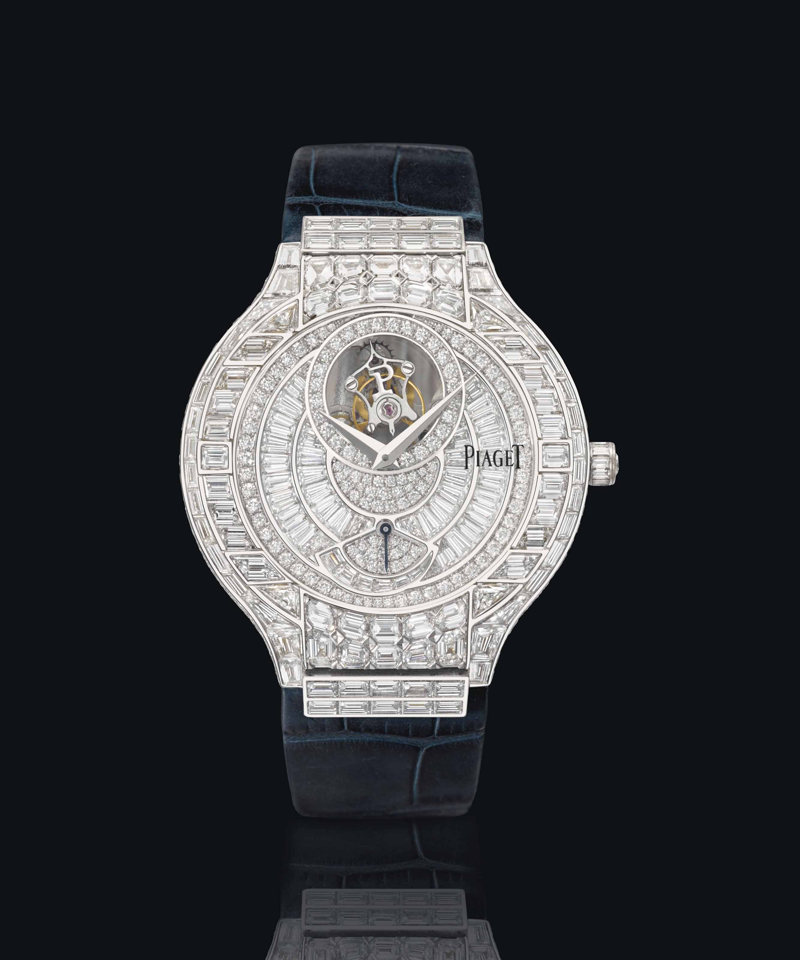 Piaget. An exceptional 18K white gold and diamond-set wristwatch with one minute flying tourbillon, power reserve, certificate and boxes