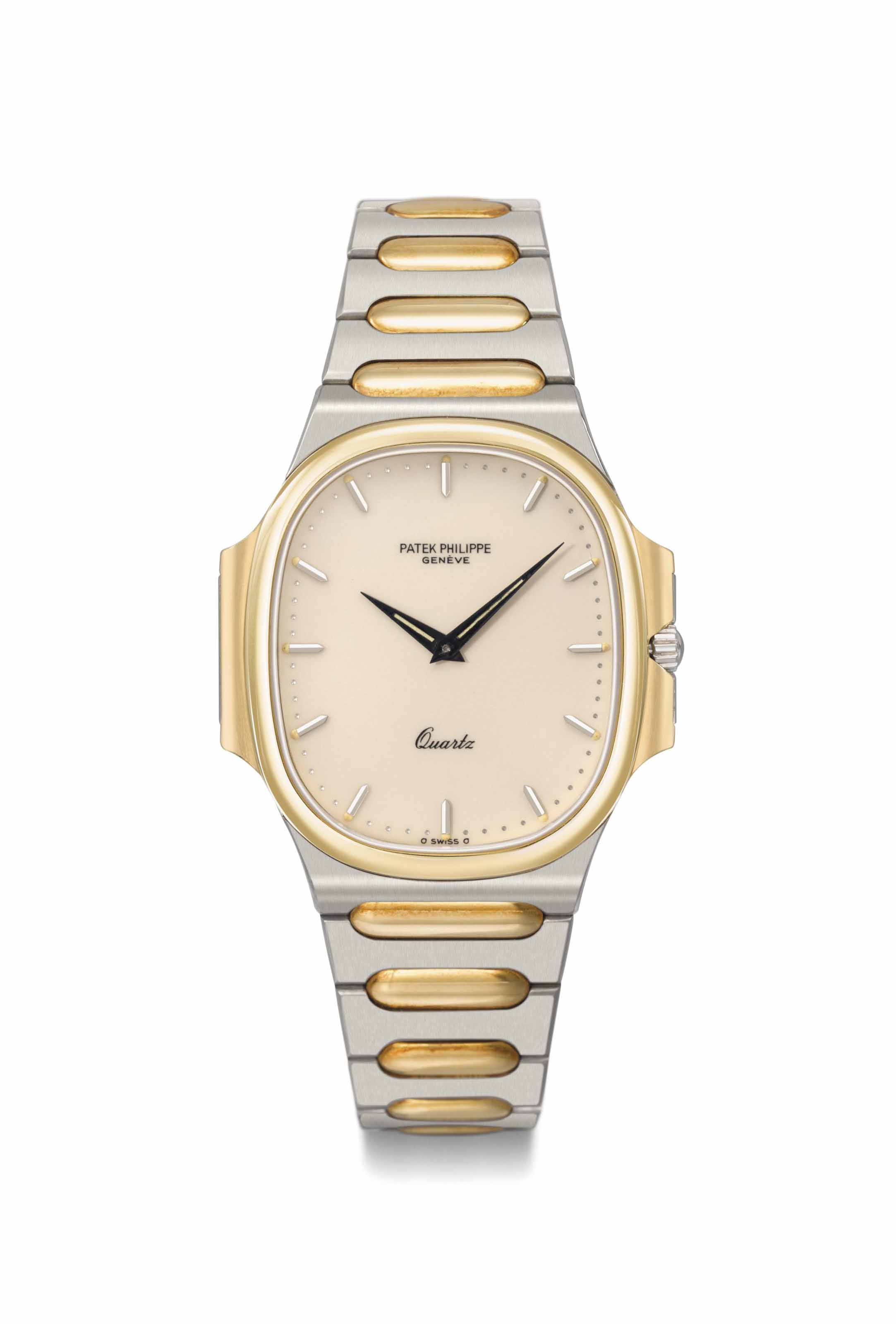 Patek philippe a fine stainless steel and 18k gold quartz for Manufactured quartz