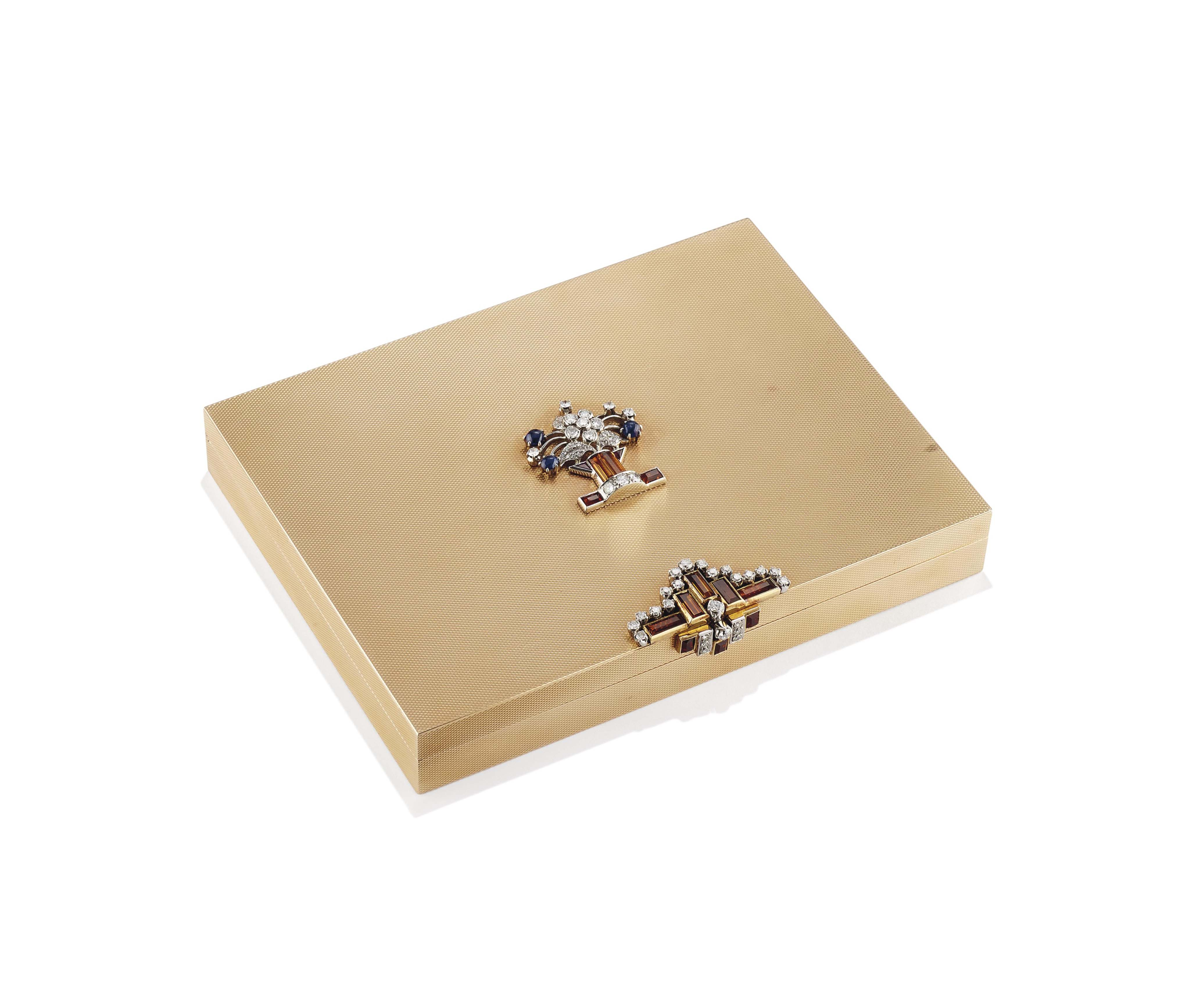 A RETRO GOLD AND MULTI-GEM VANITY CASE, BY VENTRELLA