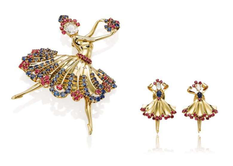 A multi-gem Ballerina brooch and a pair of earrings, by Van Cleef & Arpels. Sold for CHF 233,000 on 10 November 2015  at Christie's in Geneva